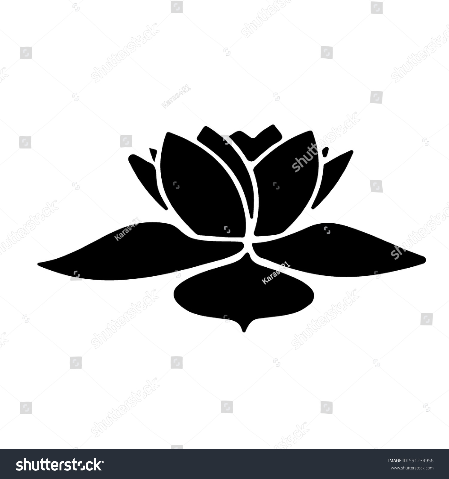 Small Flower Stencils Admiration Fine Lotus Stock Vector Royalty