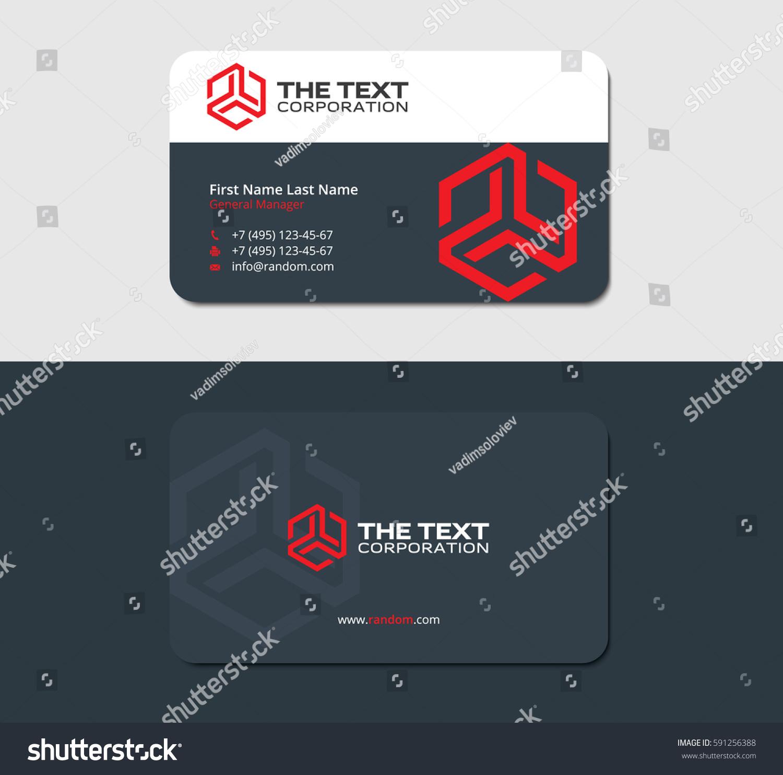 Dark Business Card Design Template Red Stock Vector (2018) 591256388 ...