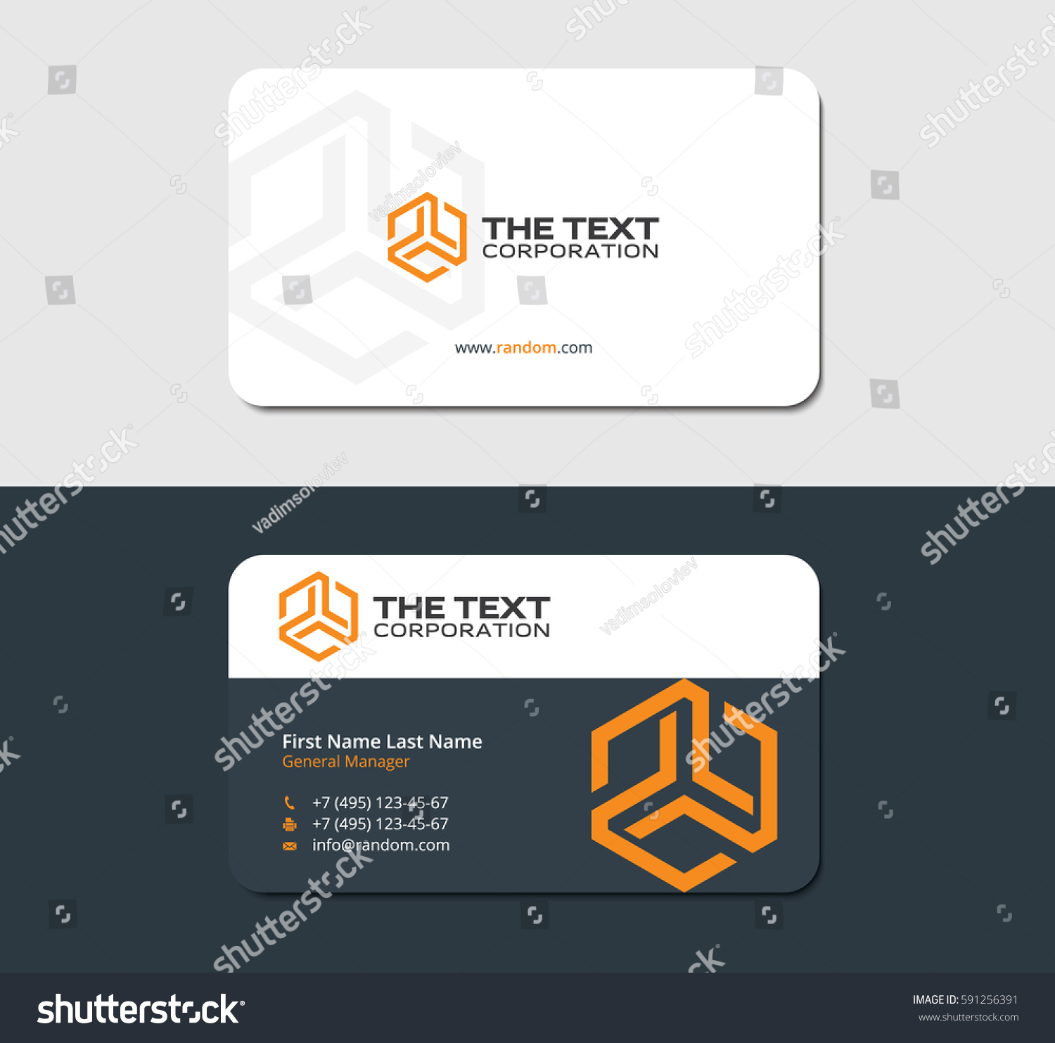 Two Sided Business Card Abstract Yellow Stock Vector 591256391 ...