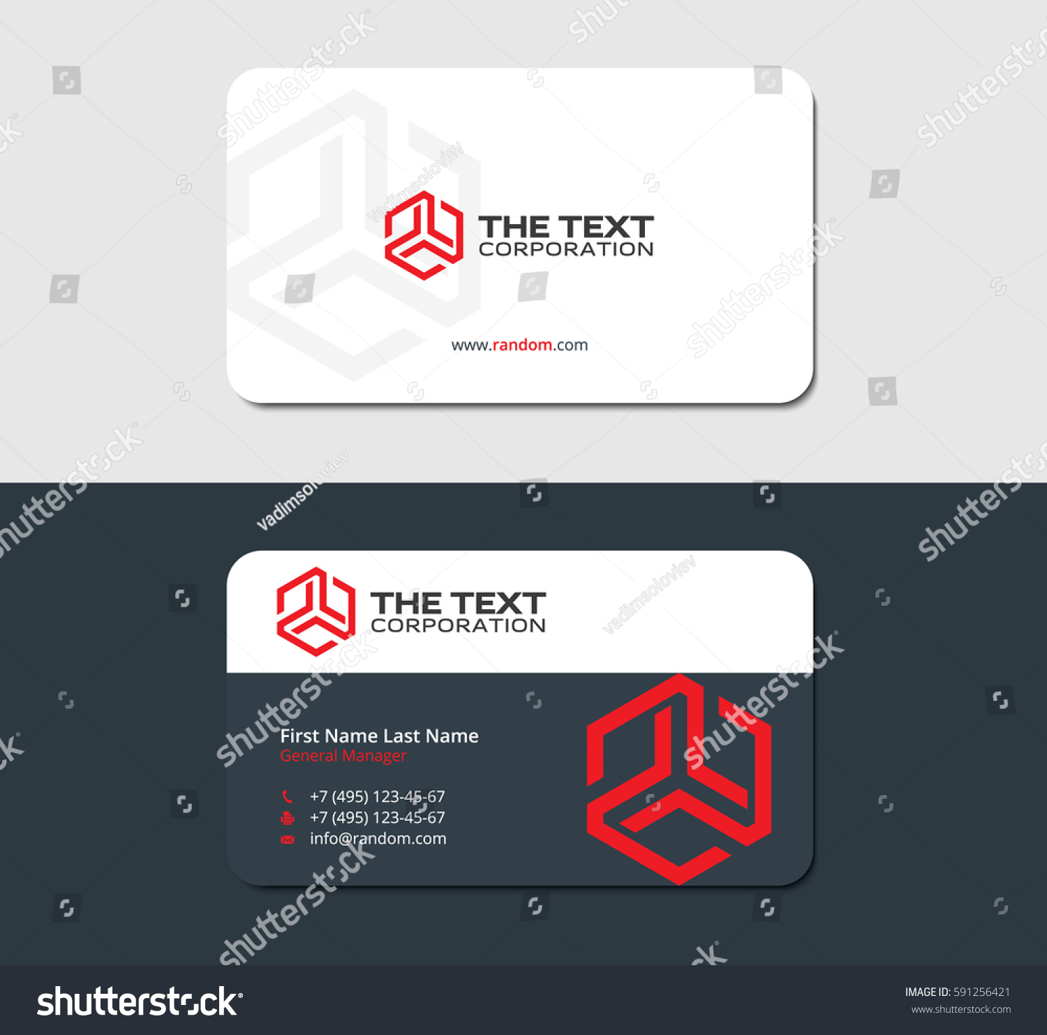 Two sided business card abstract red stock vector 591256421 two sided business card with abstract red hexagon ready for printing magicingreecefo Image collections