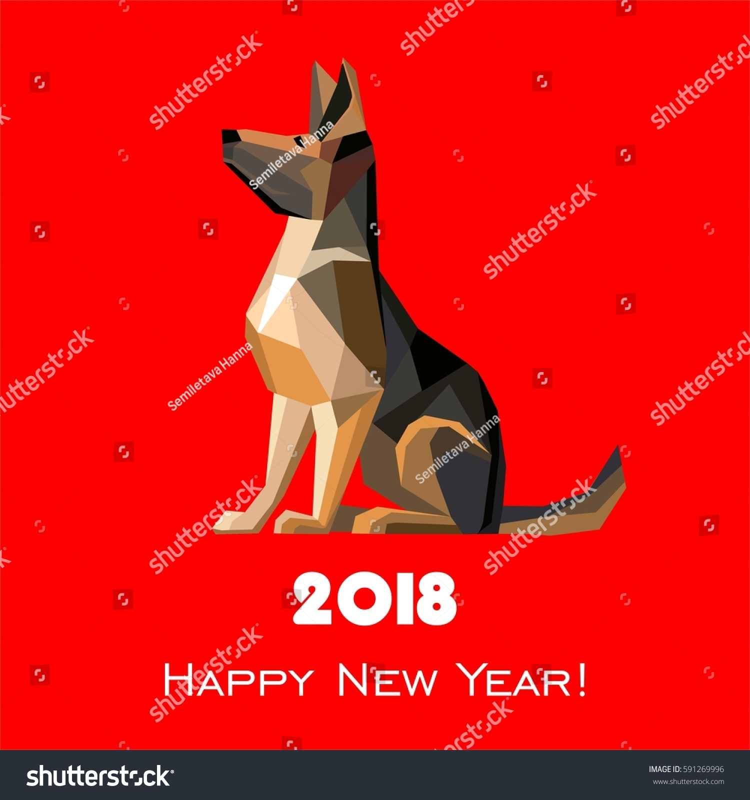 2018 Happy New Year Greeting Card Stock Illustration 591269996