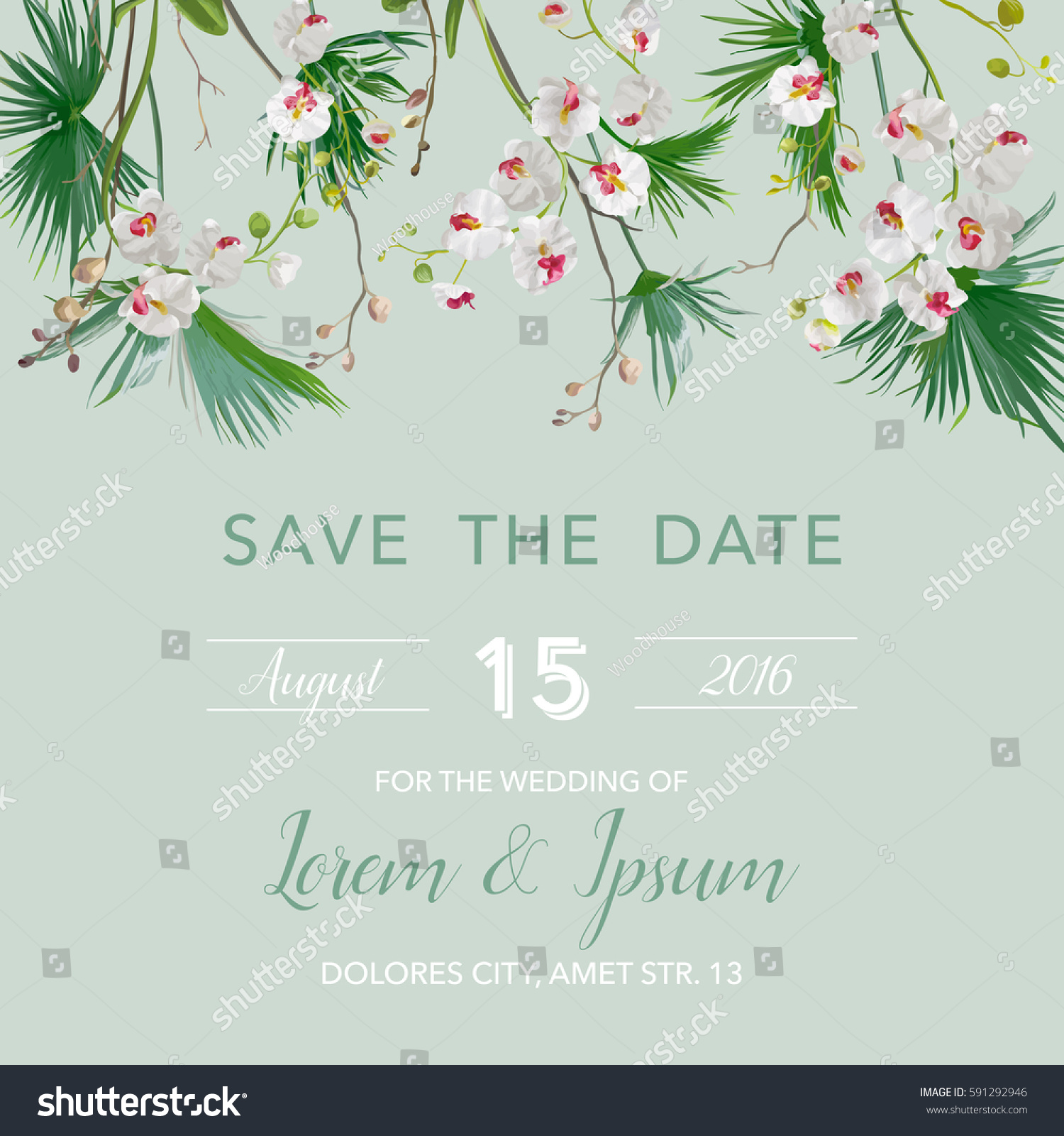 Save Date Wedding Card Tropical Theme Stock Vector 591292946 ...
