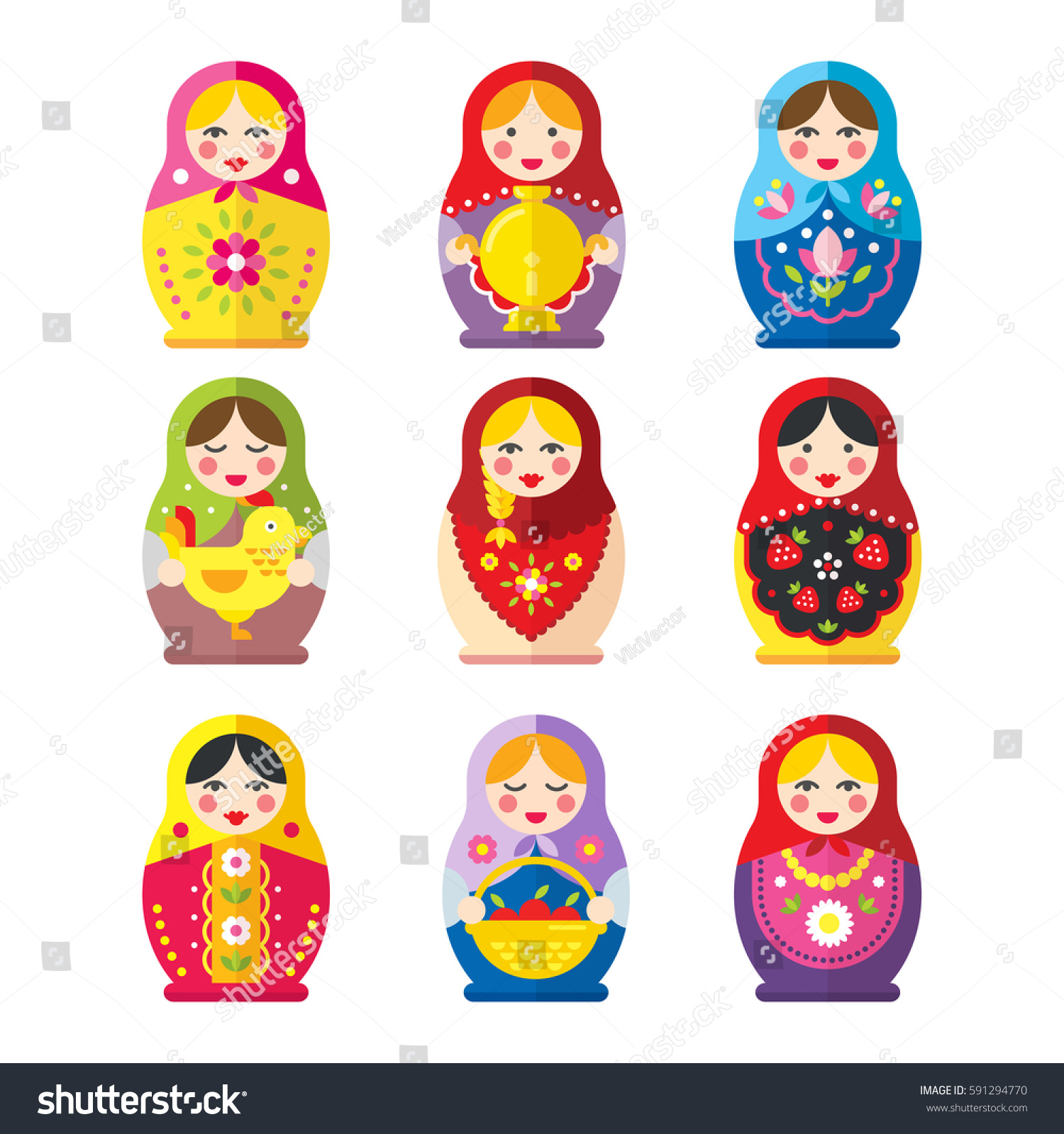 Set Russian Matryoshka Dolls Flat Style Stock Vector Royalty Free