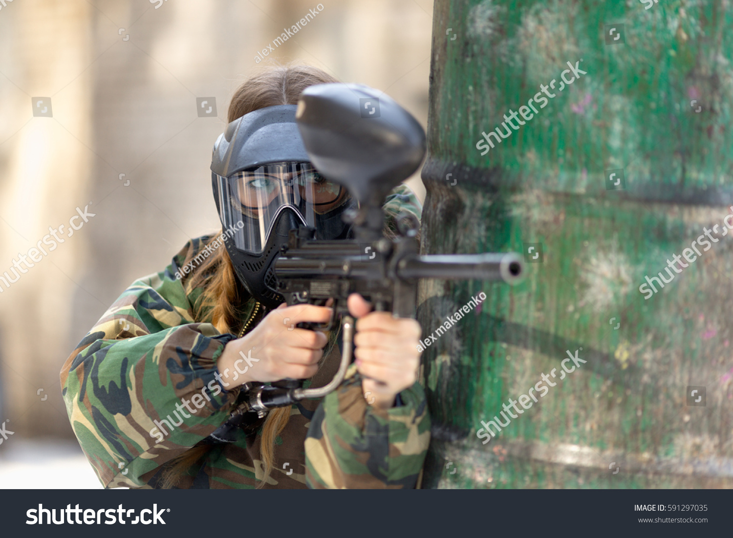 Official Spetsnaz Logo Girl Playing Paintball...