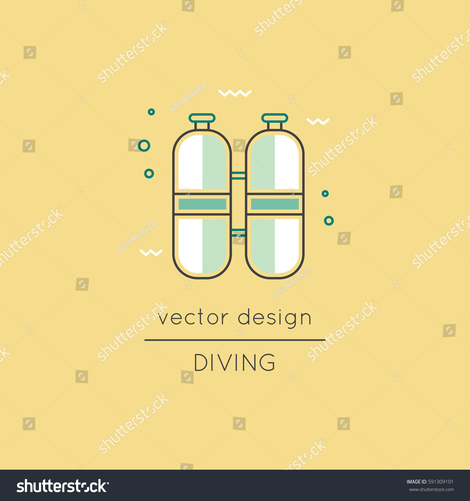 Diving Vector Thin Line Icon Oxygen Stock Vector 591309101