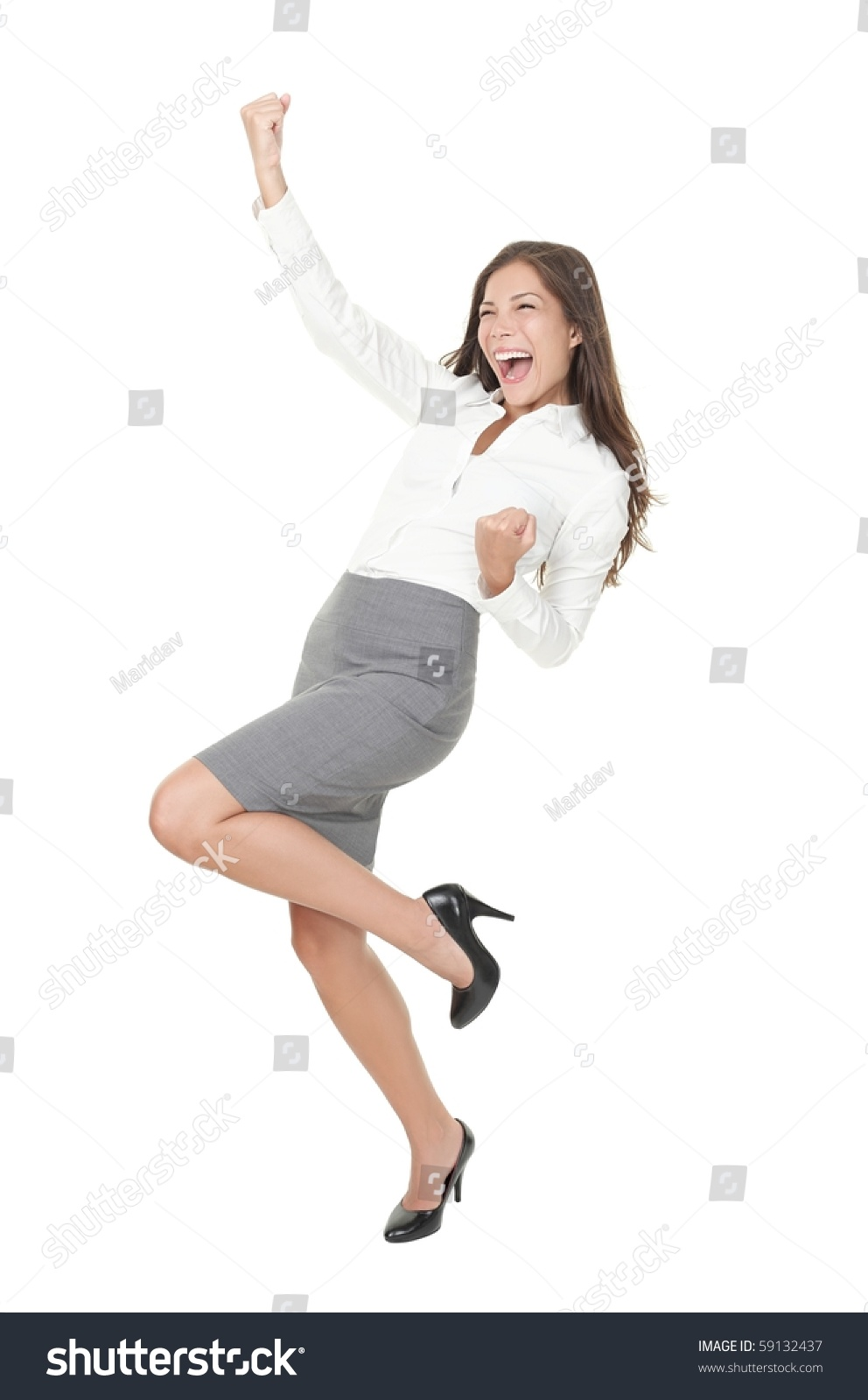 successful young business w happy her stock foto  successful young business w happy for her success isolated full body image on white background