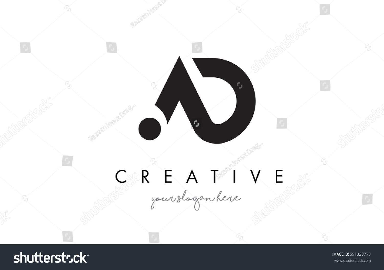 Ad Letter Logo Design Creative Modern Stock Vector