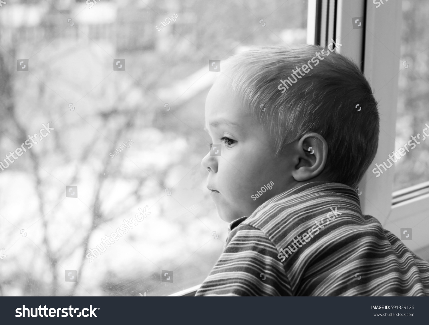 Sad Little Child Looking Out Window People Stock Image 591329126