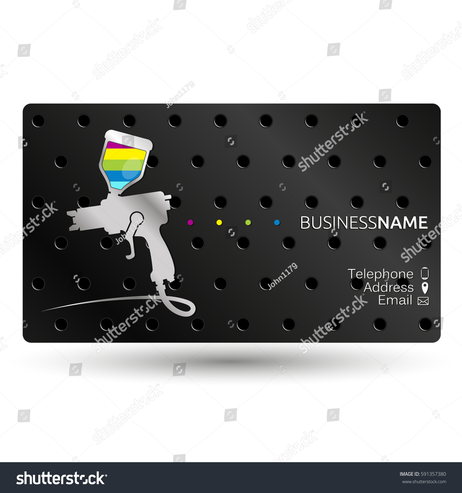 paint spray gun business card work stock vector