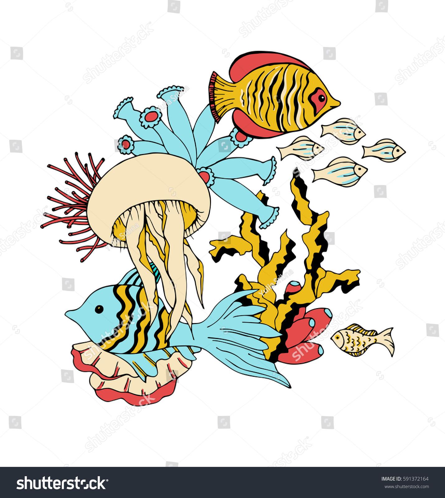 Vector Under Water Sea Life Animals Vector de stock (libre de ...