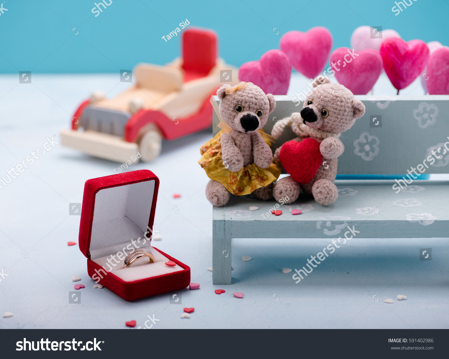 Valentine S Day Vintage Toys : Valentines day love heart couple teddy stock photo