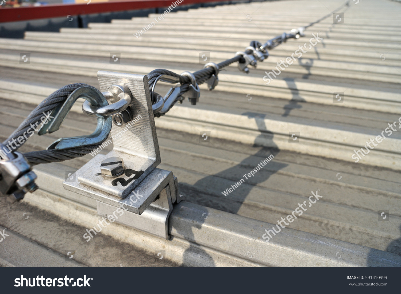 Steel Wire Rope Lifeline On Roof Stock Photo (Edit Now)- Shutterstock