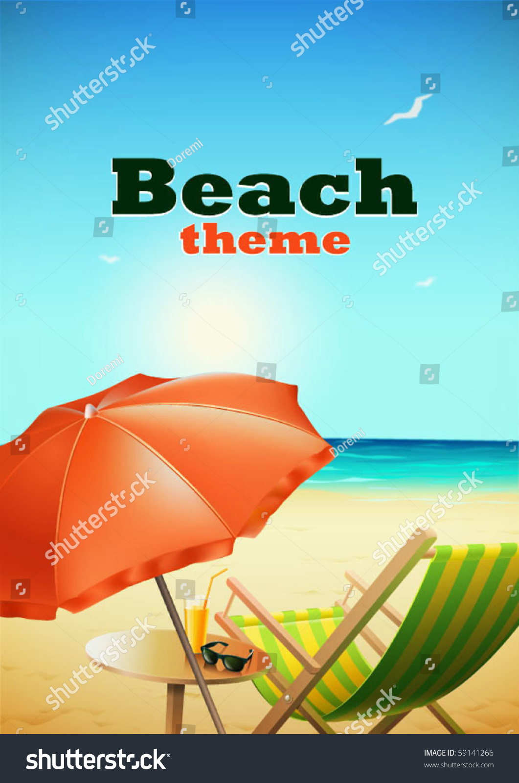 Beach Theme Stock Vector Shutterstock