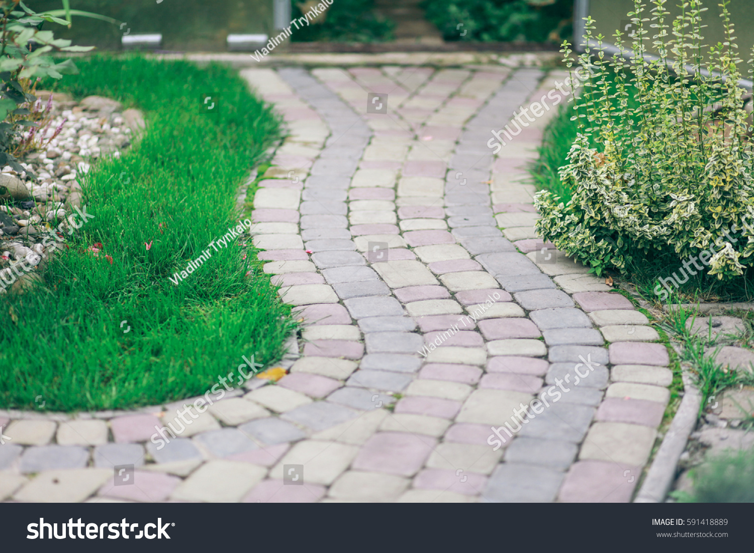 Nested pavers various colors around grass stock photo for Green pavers