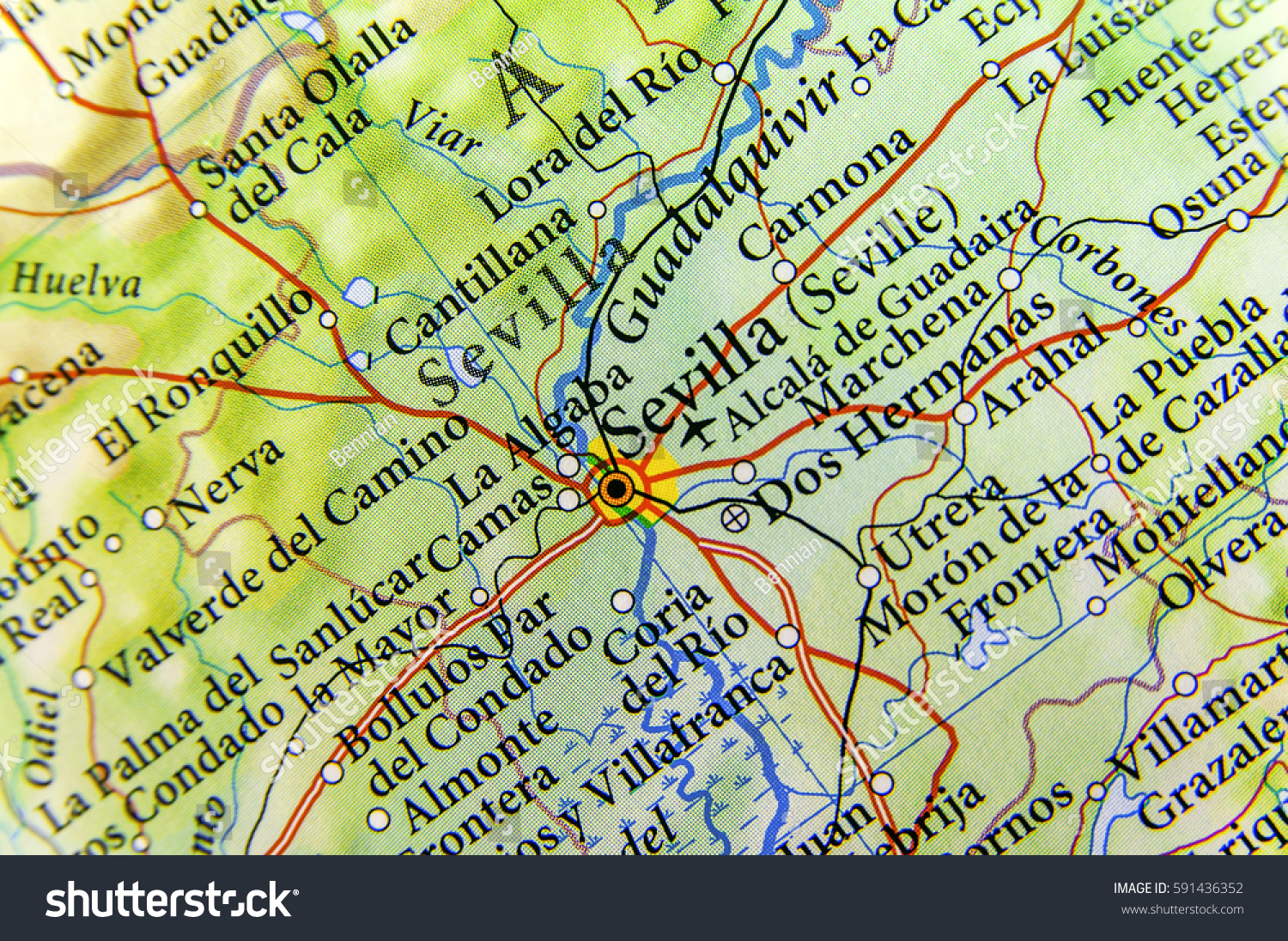 Geographic Map European Country Spain Sevilla Stock Photo Edit Now