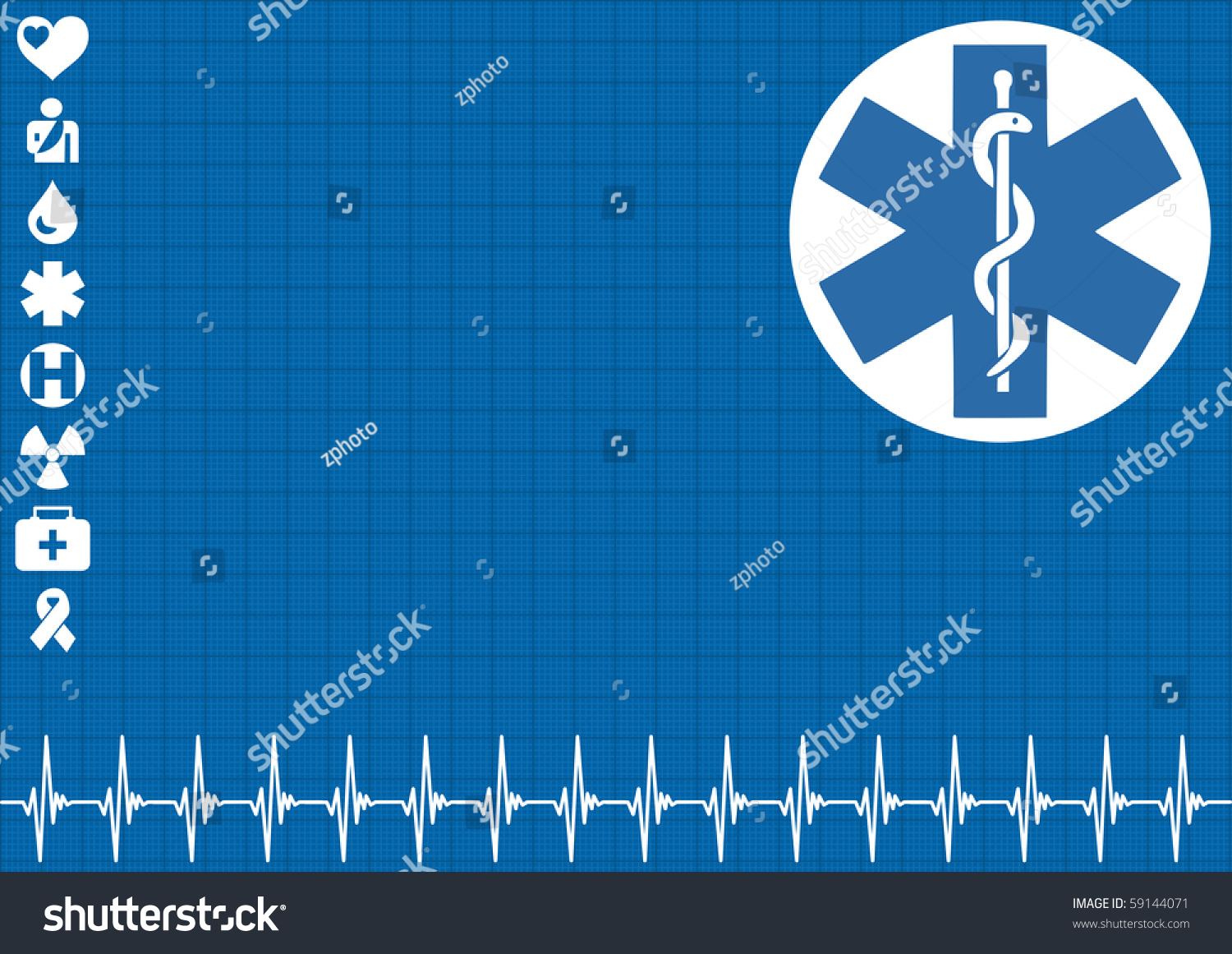 Heartbeat Pattern Heartbeat Vector Pattern Vector: Medical Blue Background With Ekg Heartbeat Pattern Stock