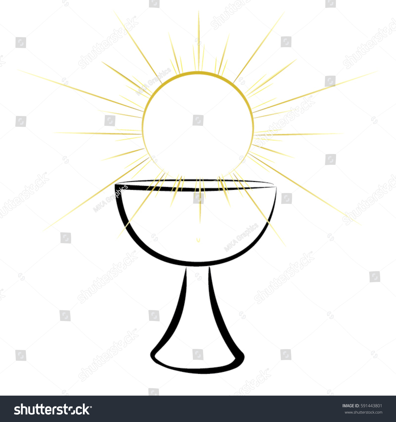 First Communion Chalice Symbol Nice Invitation Stock Vector Royalty