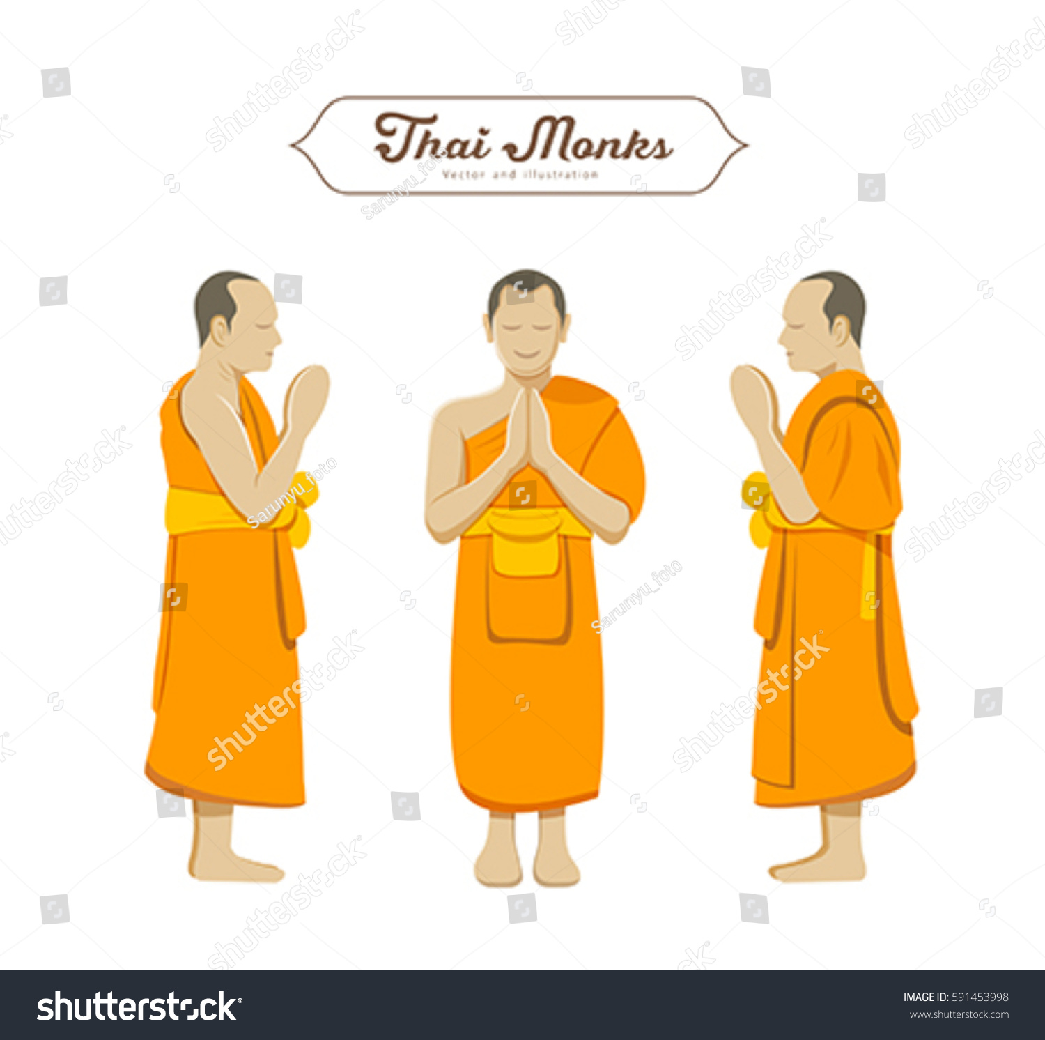 Thai Monks Greetings Collections Vector Illustration Stock Vector