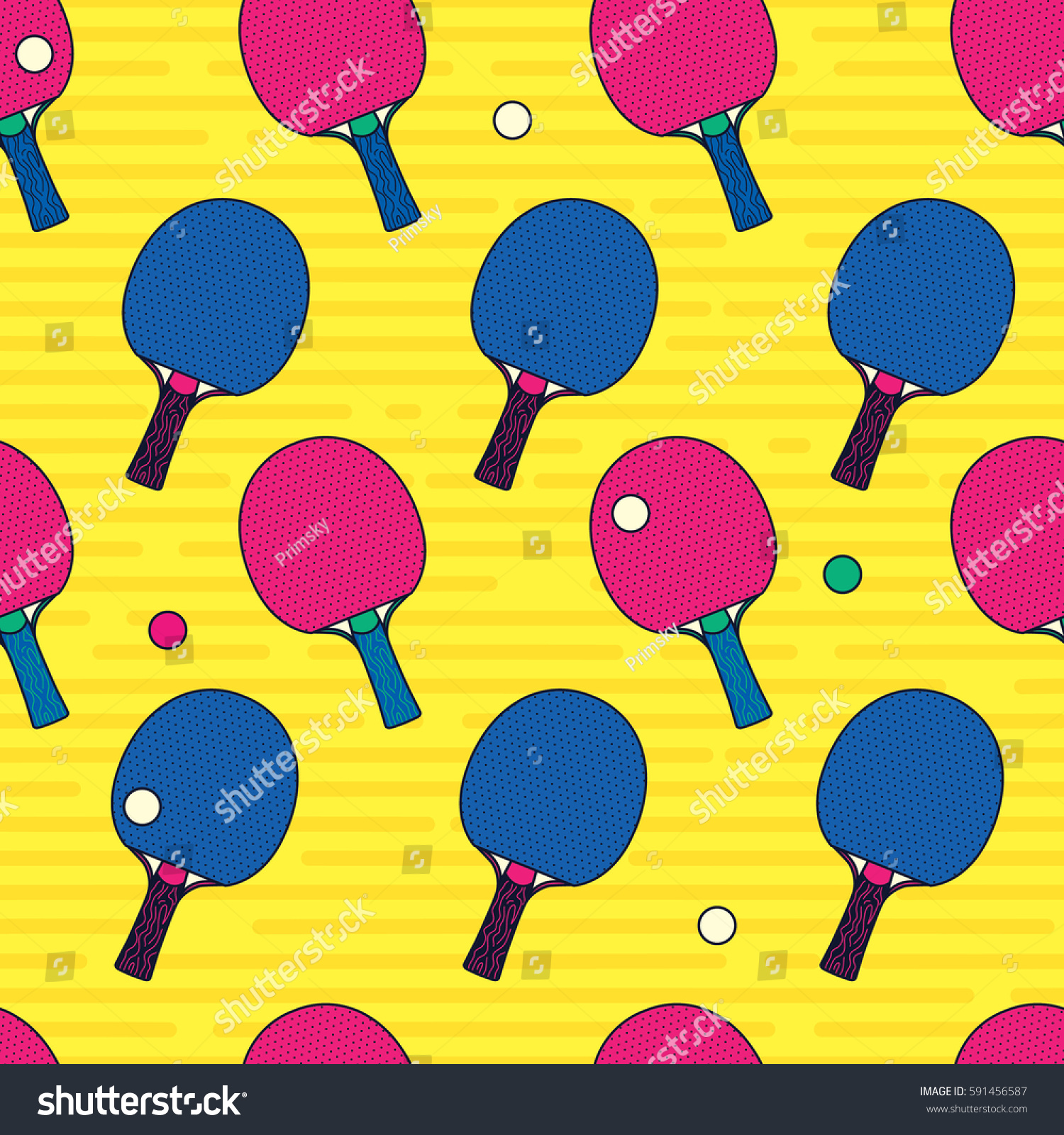 Pop And Colorful Ping Pong Table Tennis Bat Ball Seamless Pattern Background Wallpaper