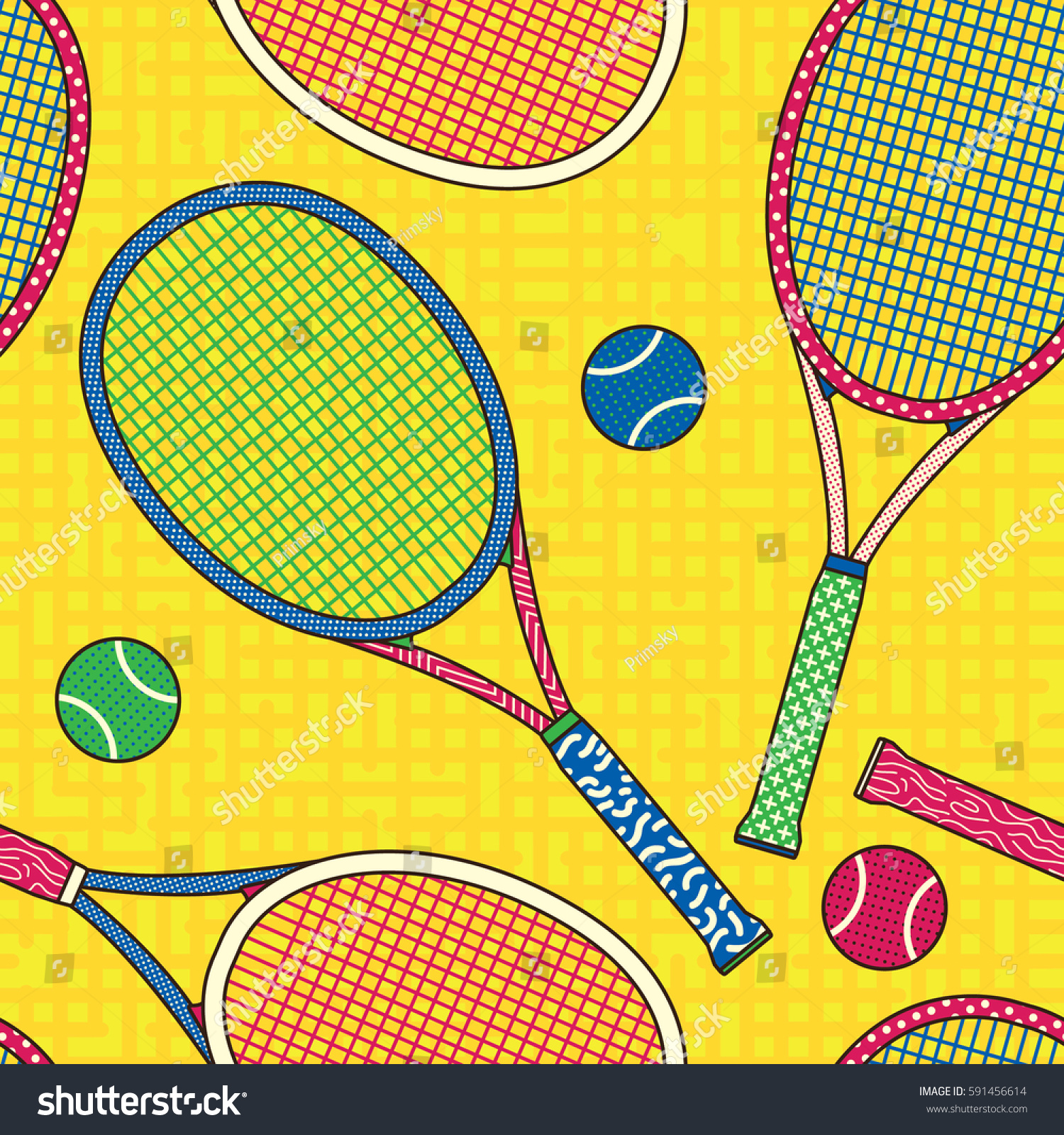 Colorful Racket And Tennis Ball Seamless Pattern Background Wallpaper