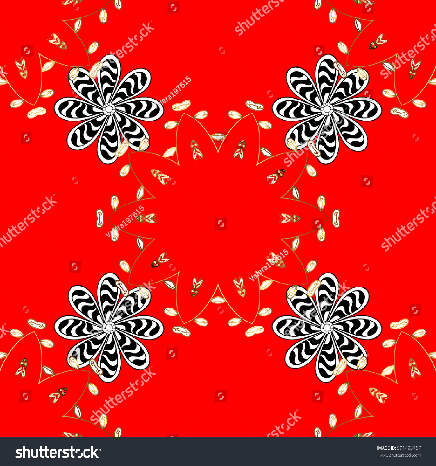 Gold floral pattern wallpaper