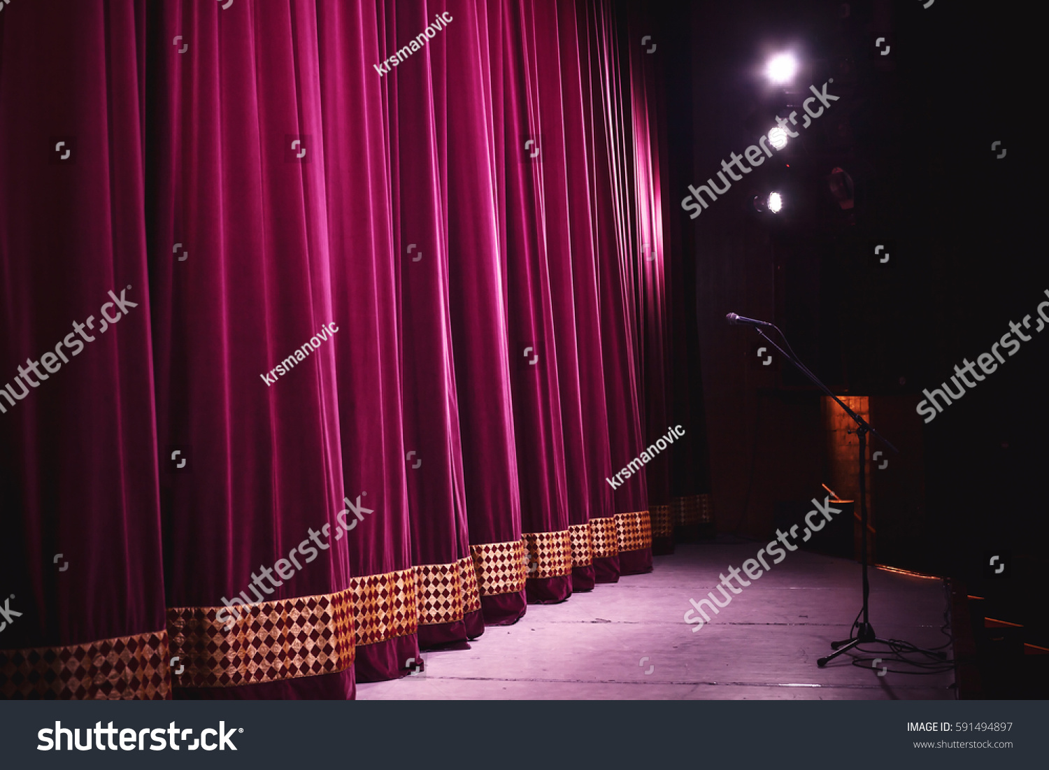 ready performance closed stage big decorative stock photo. Black Bedroom Furniture Sets. Home Design Ideas