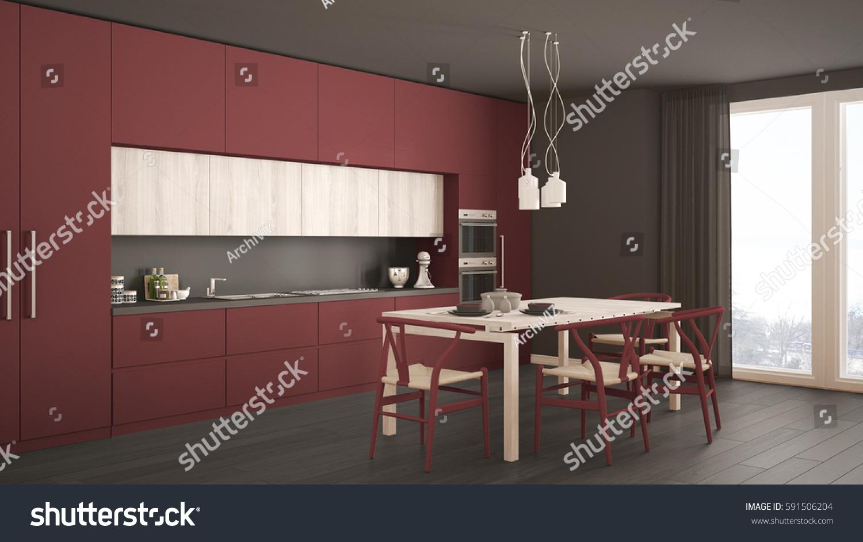 Modern Minimal White Kitchen With Wooden Floor, Classic Interior Design, 3d  Illustration | EZ Canvas