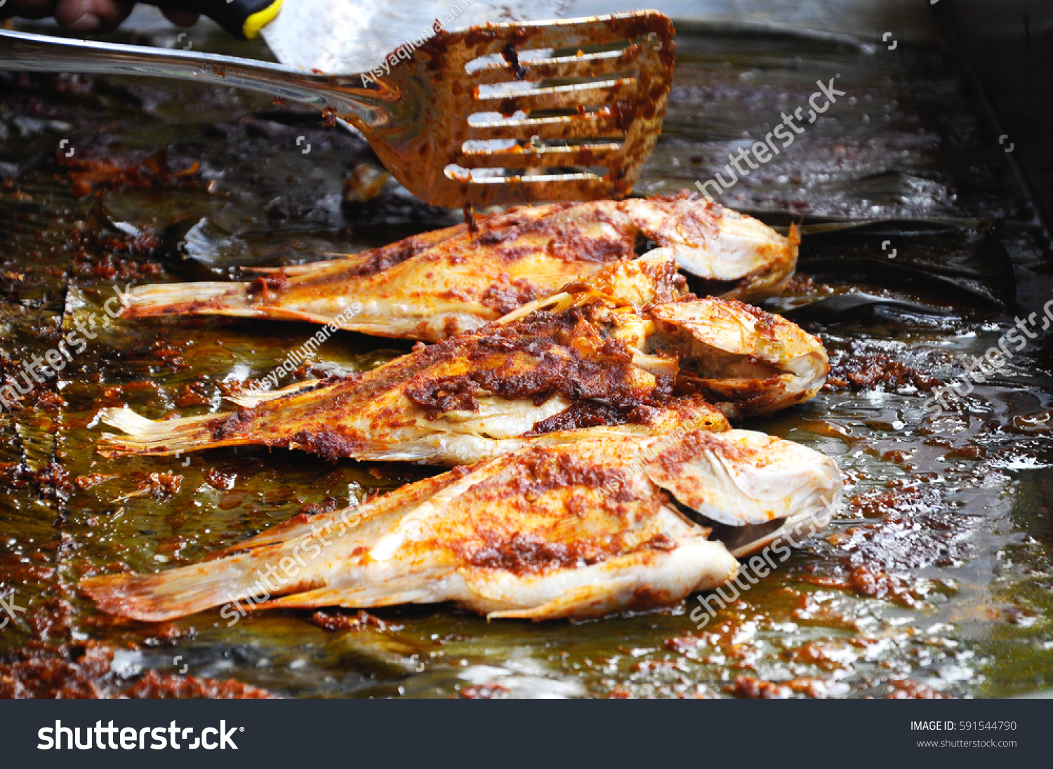 Grilled fish chili sauce grill on stock photo 591544790 for The fish grill