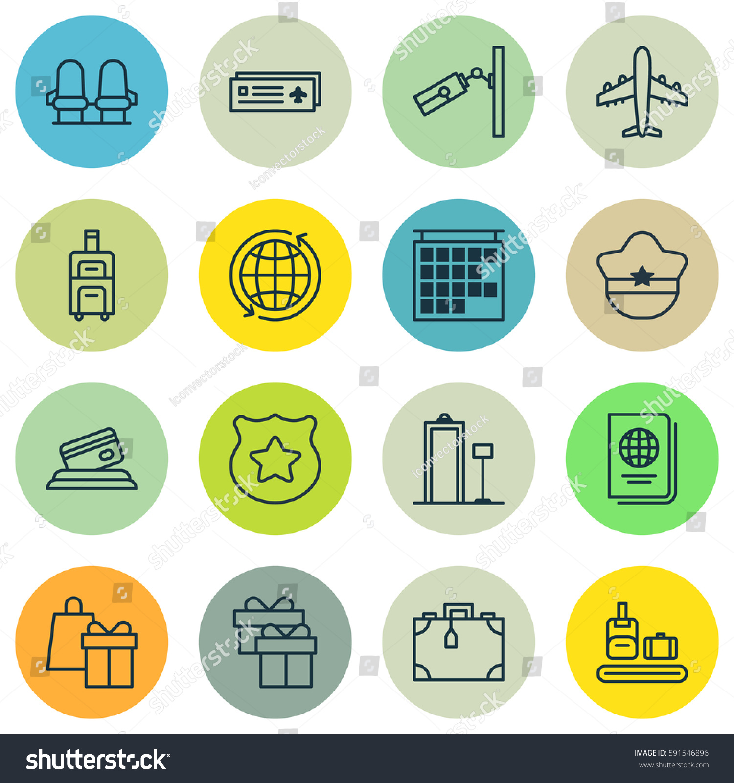 Set 16 Airport Icons Includes Departure Stock Illustration 591546896