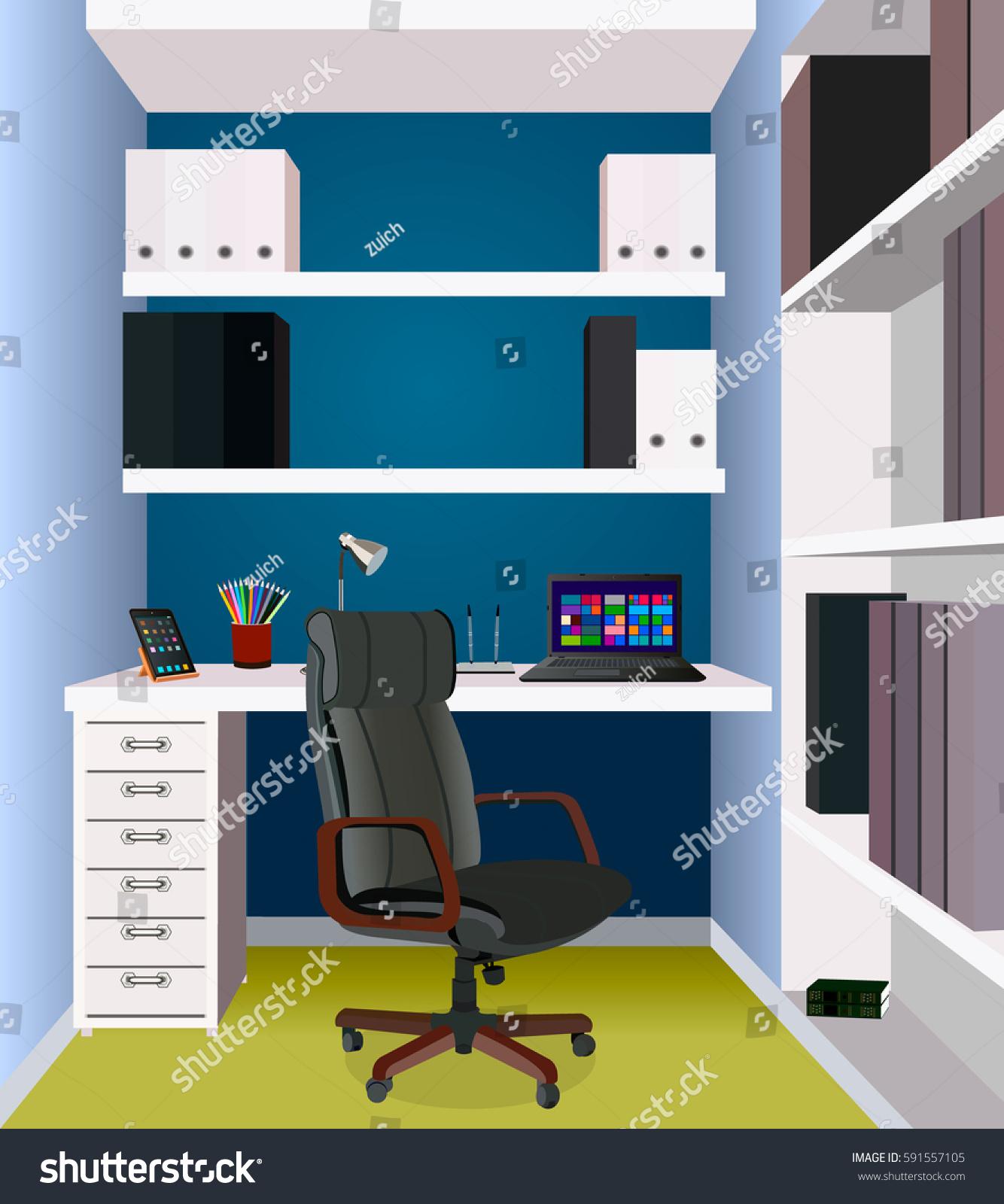 Interior Designer Working: Interior Design Work Space Workplace Office Stock Vector
