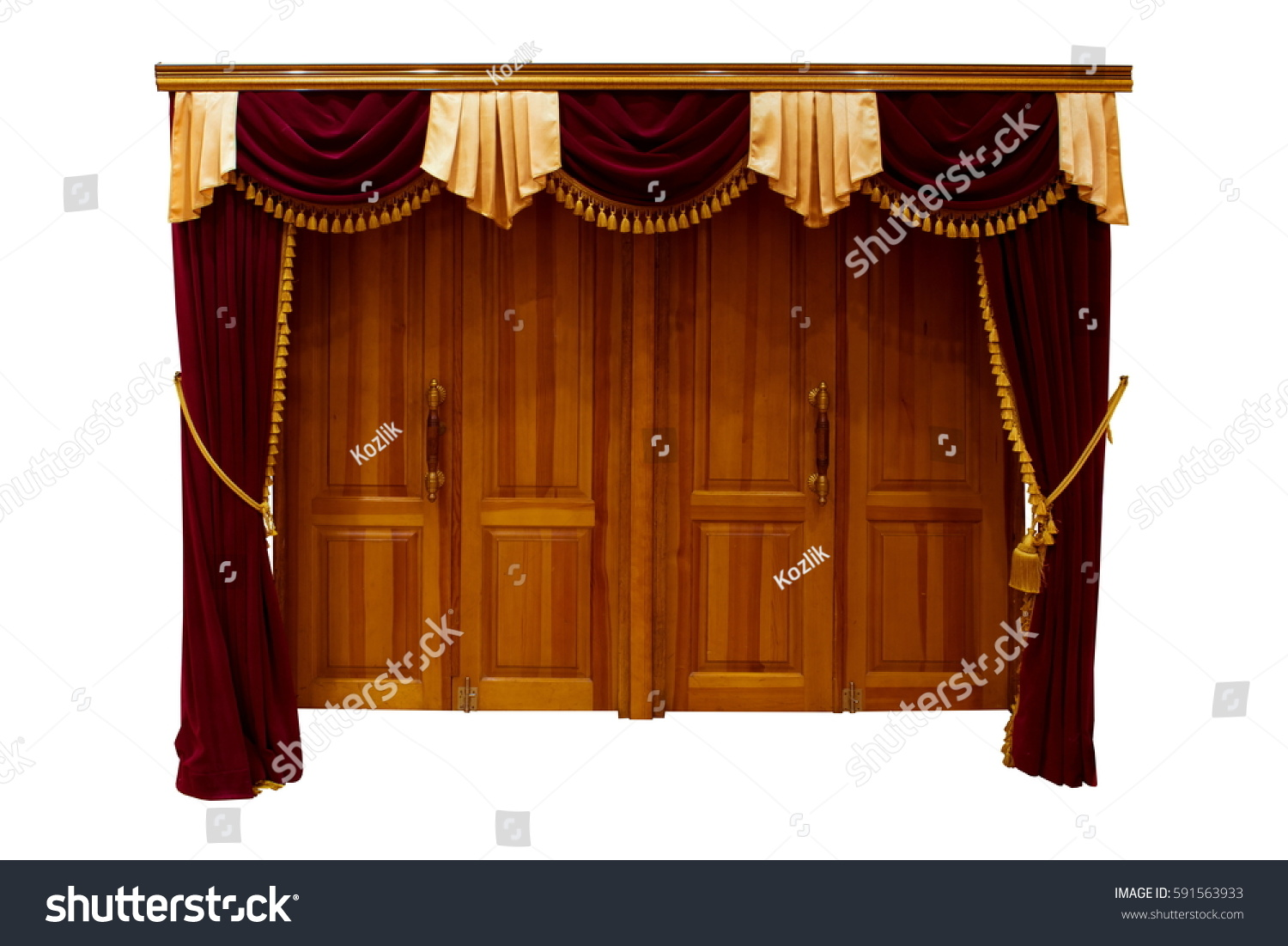 wooden doors and red velvet curtain