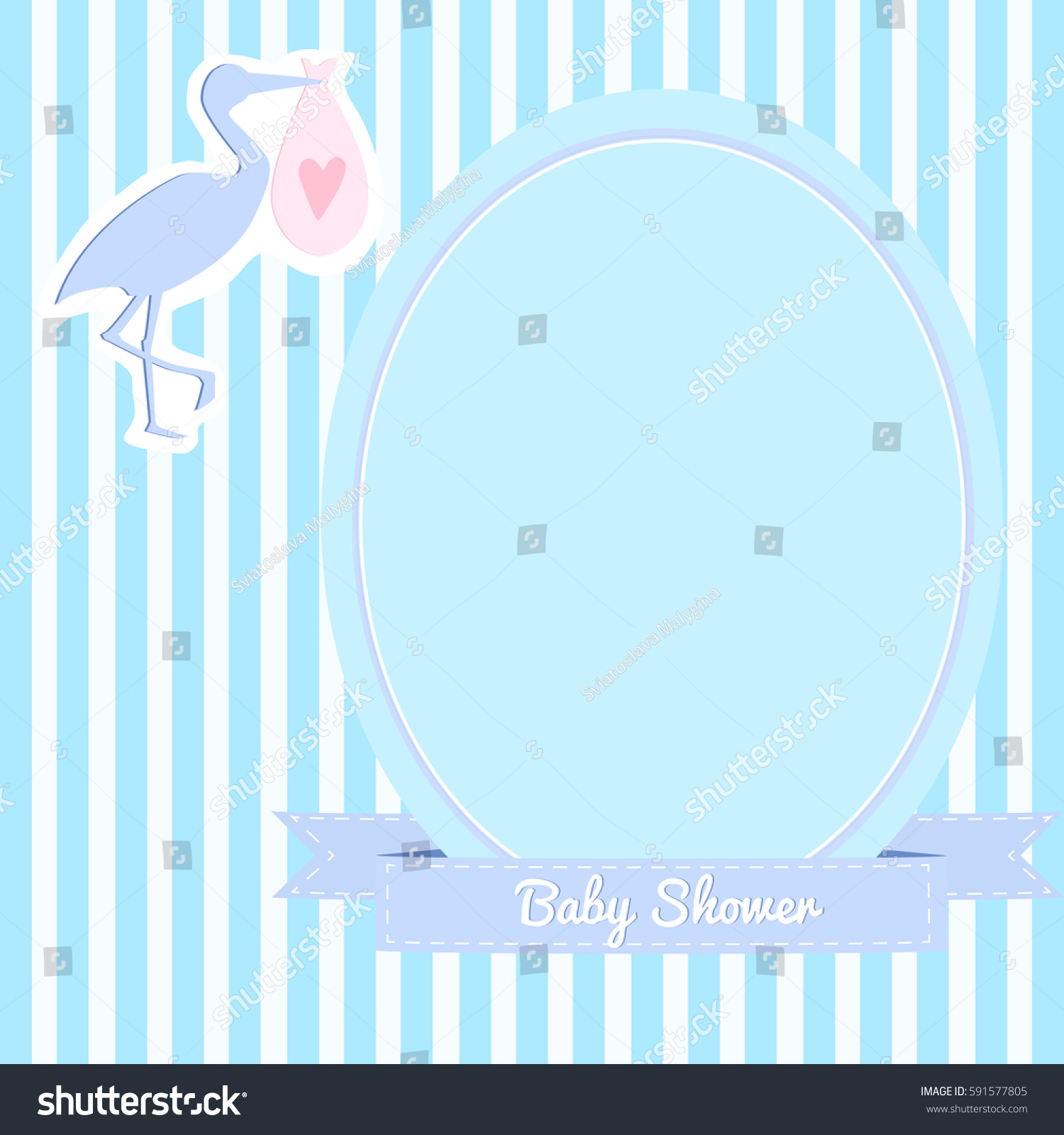 Simple Baby Shower Invitation Stork Striped Stock Vector 591577805 ...