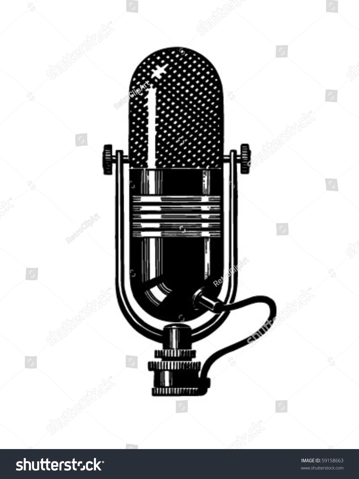 Microphone 2 - Retro Clip Art Stock Vector Illustration ...