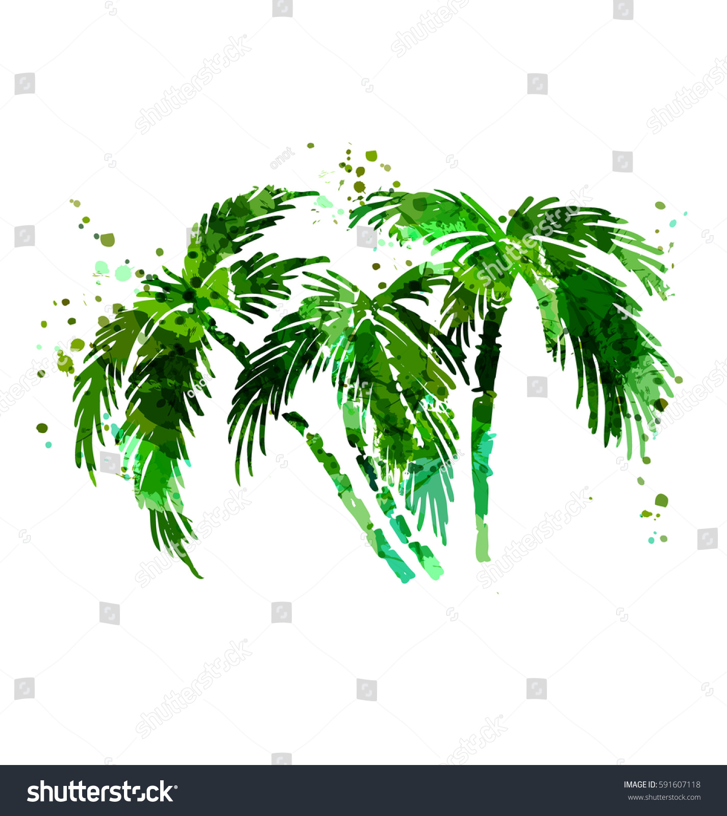colored vector silhouette palm trees vector stock vector 591607118