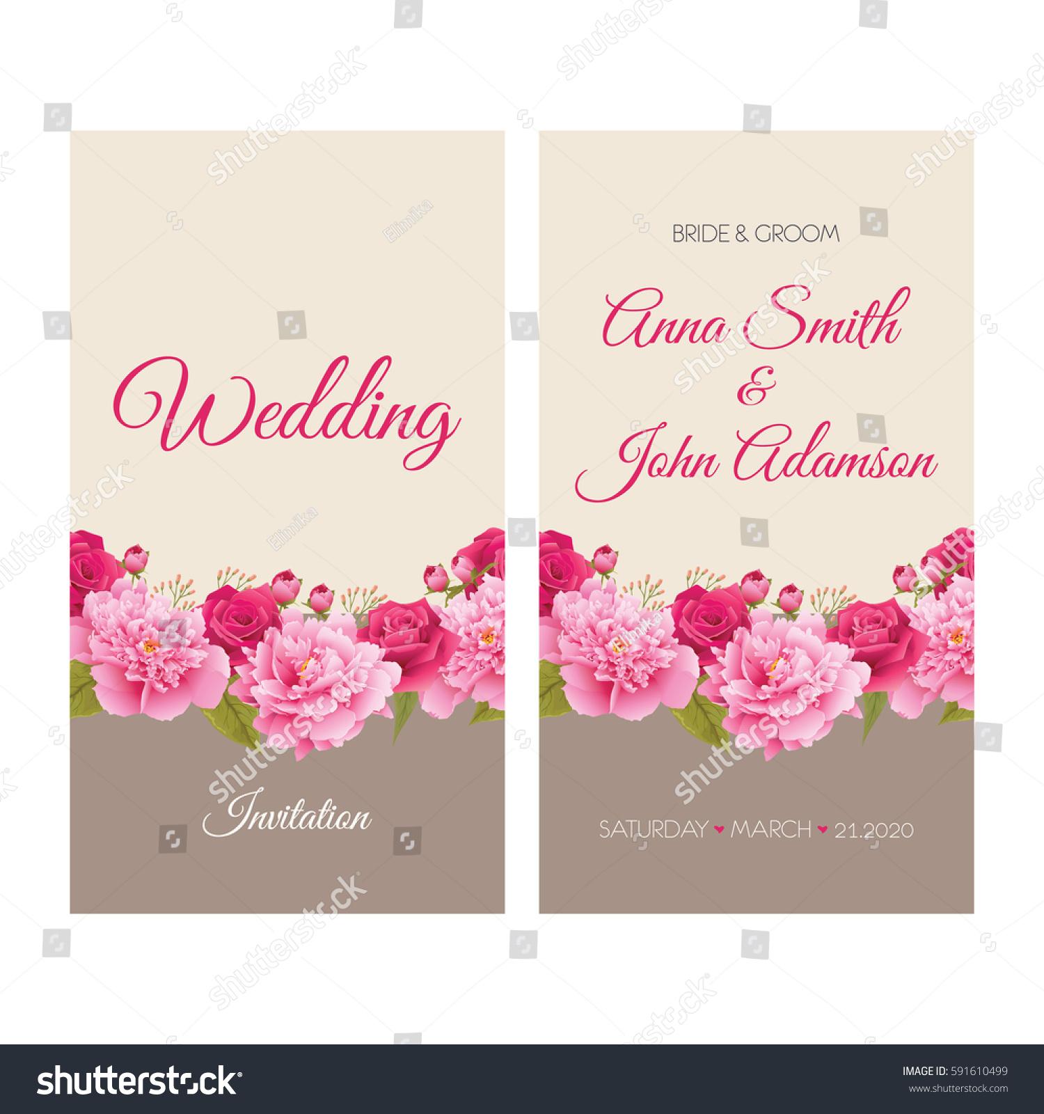 Wedding Invitation Thank You Card Save Stock Vector 591610499 ...