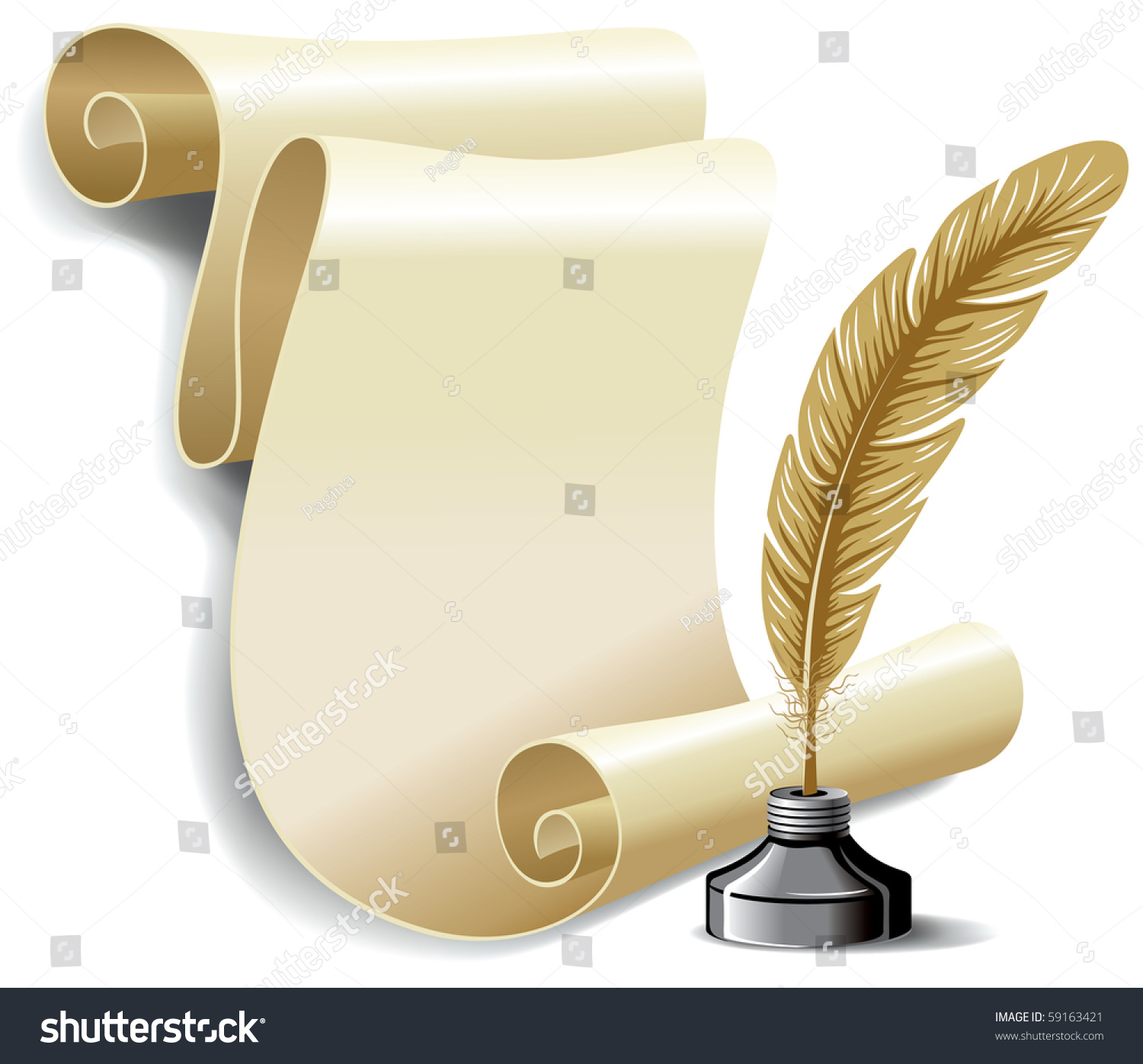 Roll Of Old Paper And Feather In The Inkwell. Vector ...   1500 x 1396 jpeg 325kB