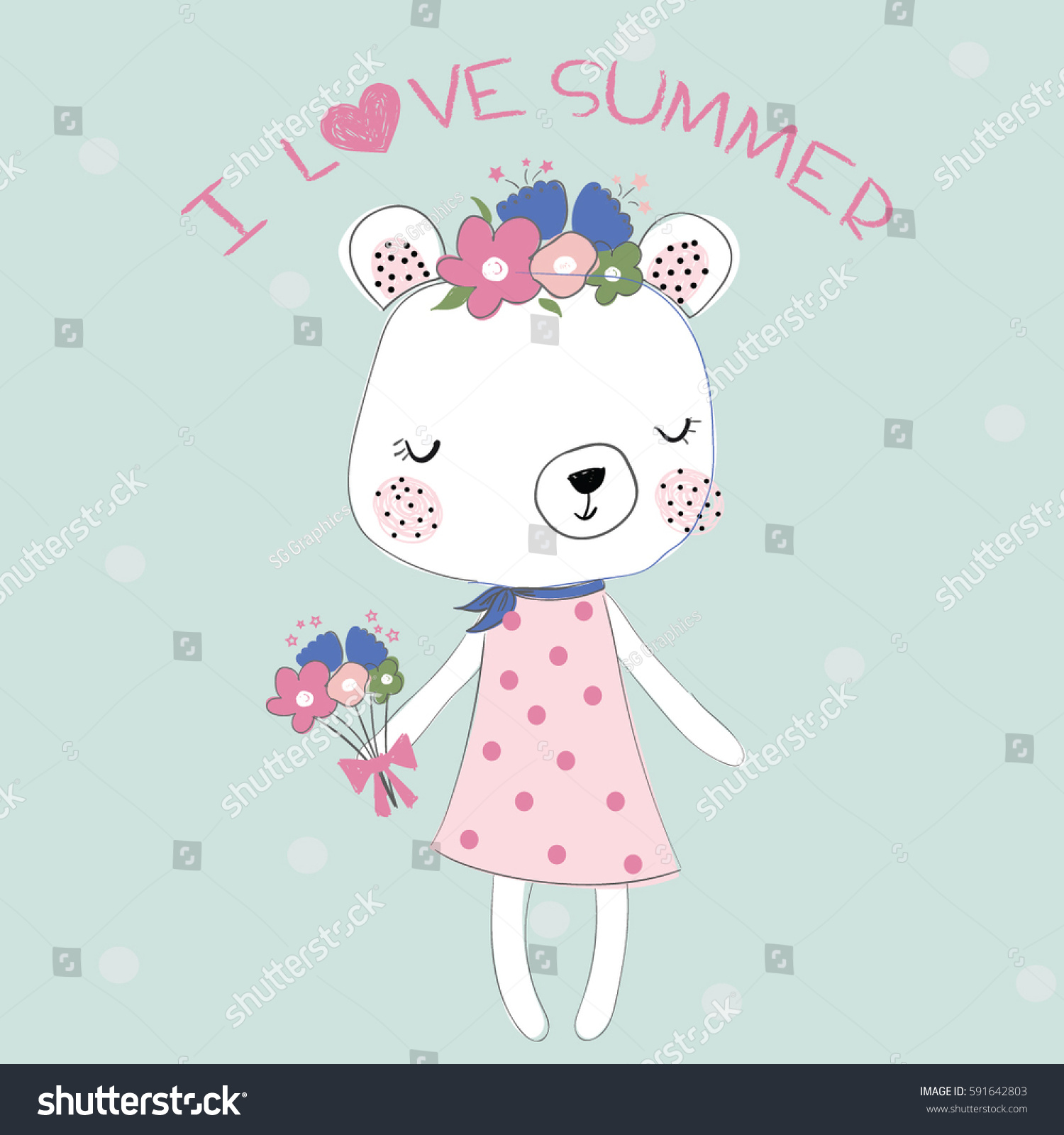 cute bear illustration vector print stock vector 591642803