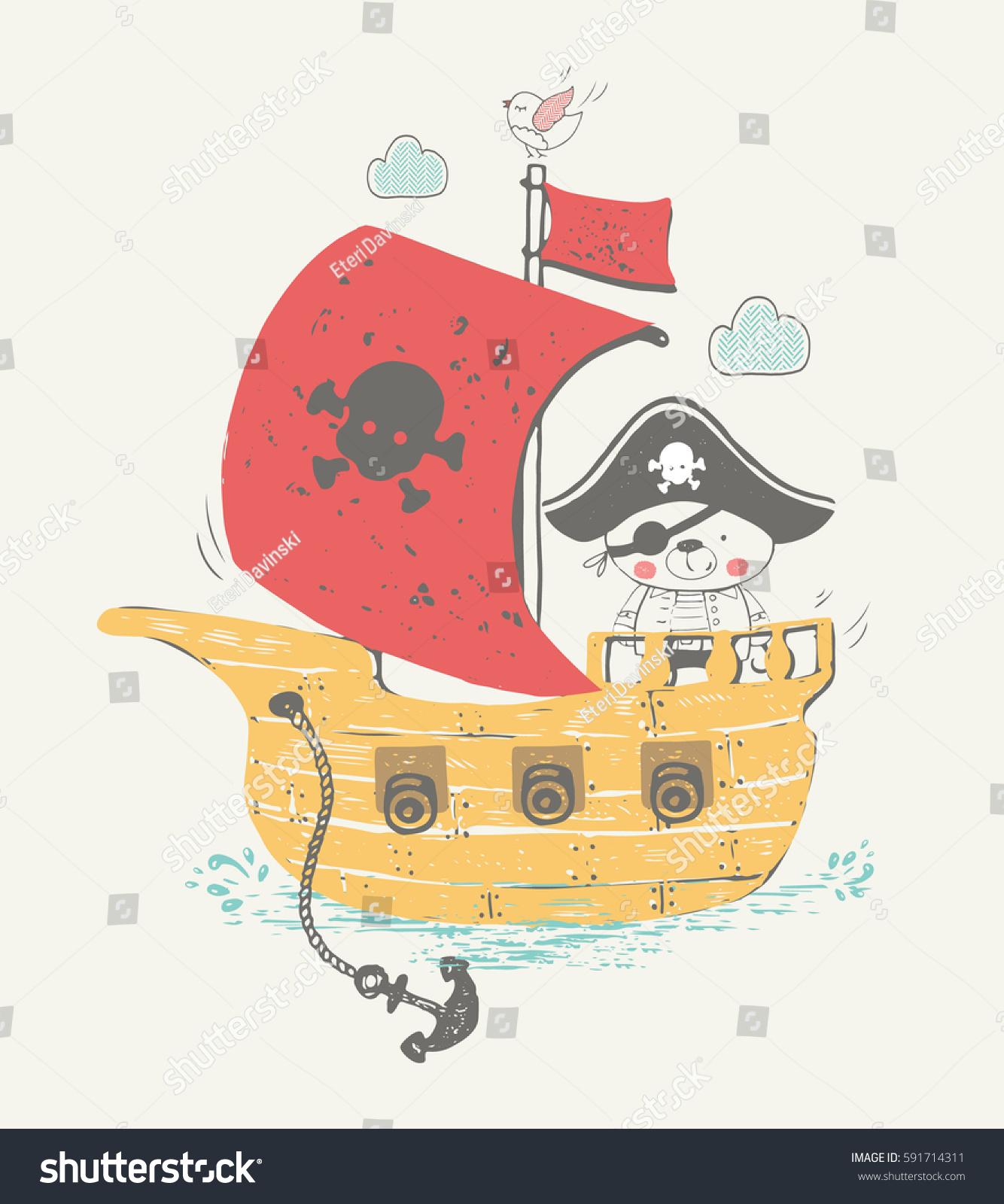Hand Drawn Vector Illustration Little Pirate Stock Vektorgrafik