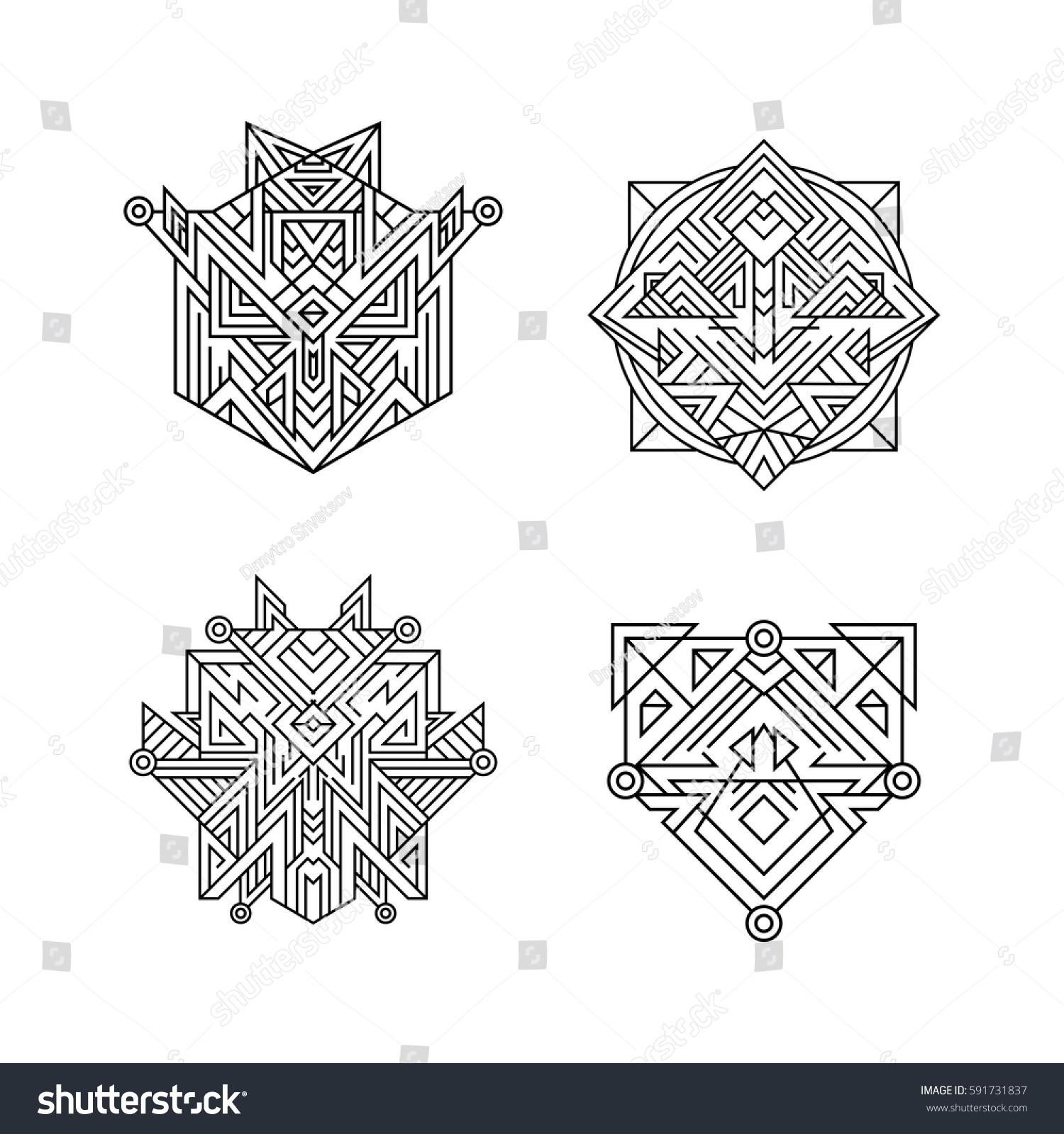 Ancient Ornament Symbols Set Sacred Geometry Stock Vector Royalty