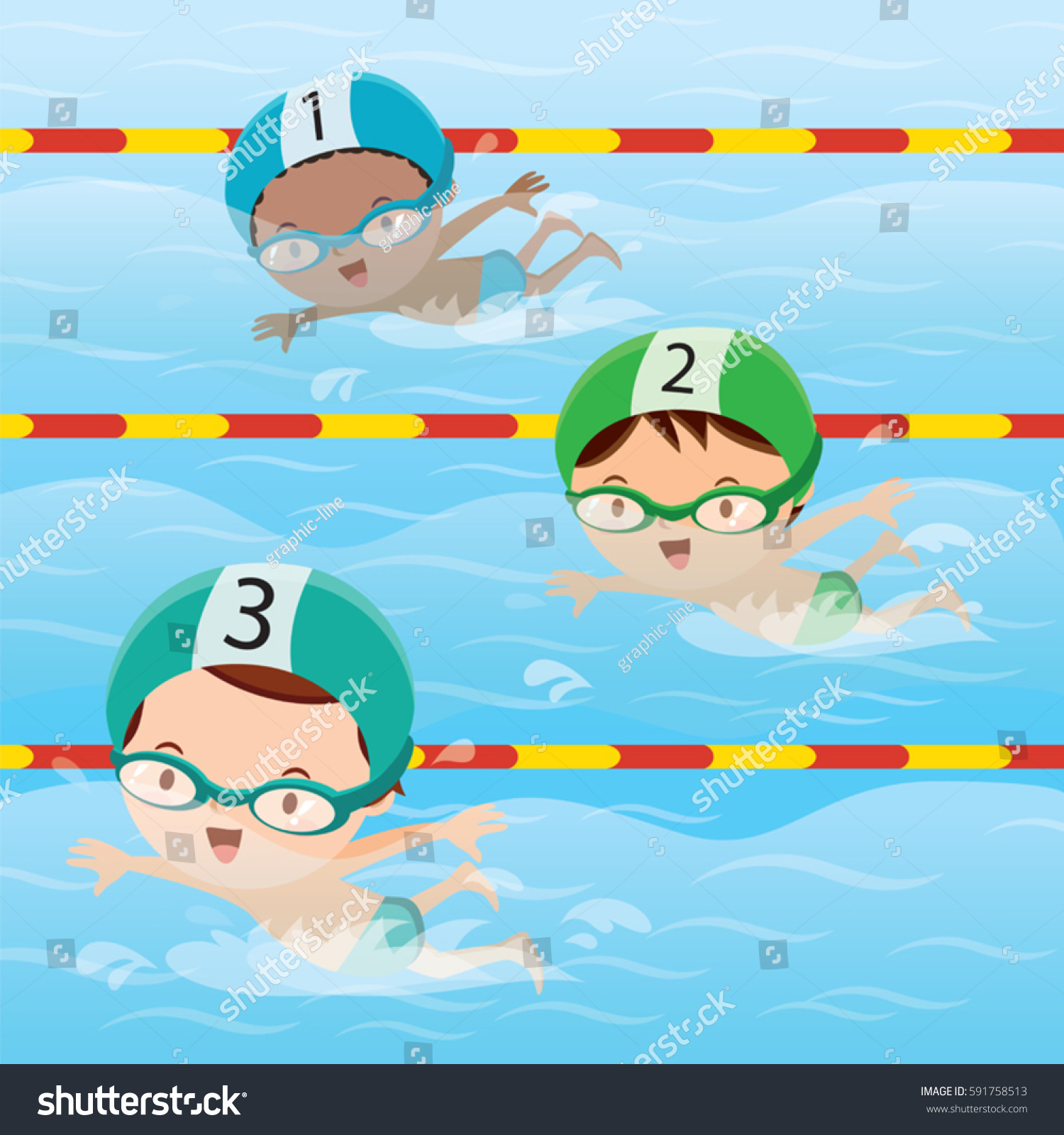 Athletes Swimming Pool Stock Vector 591758513 Shutterstock