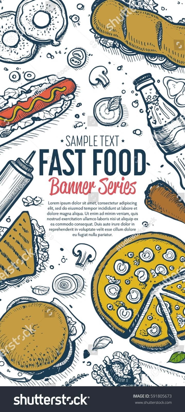 Cafe Bar Fast Food Symbols Restaurant Stock Illustration 591805673