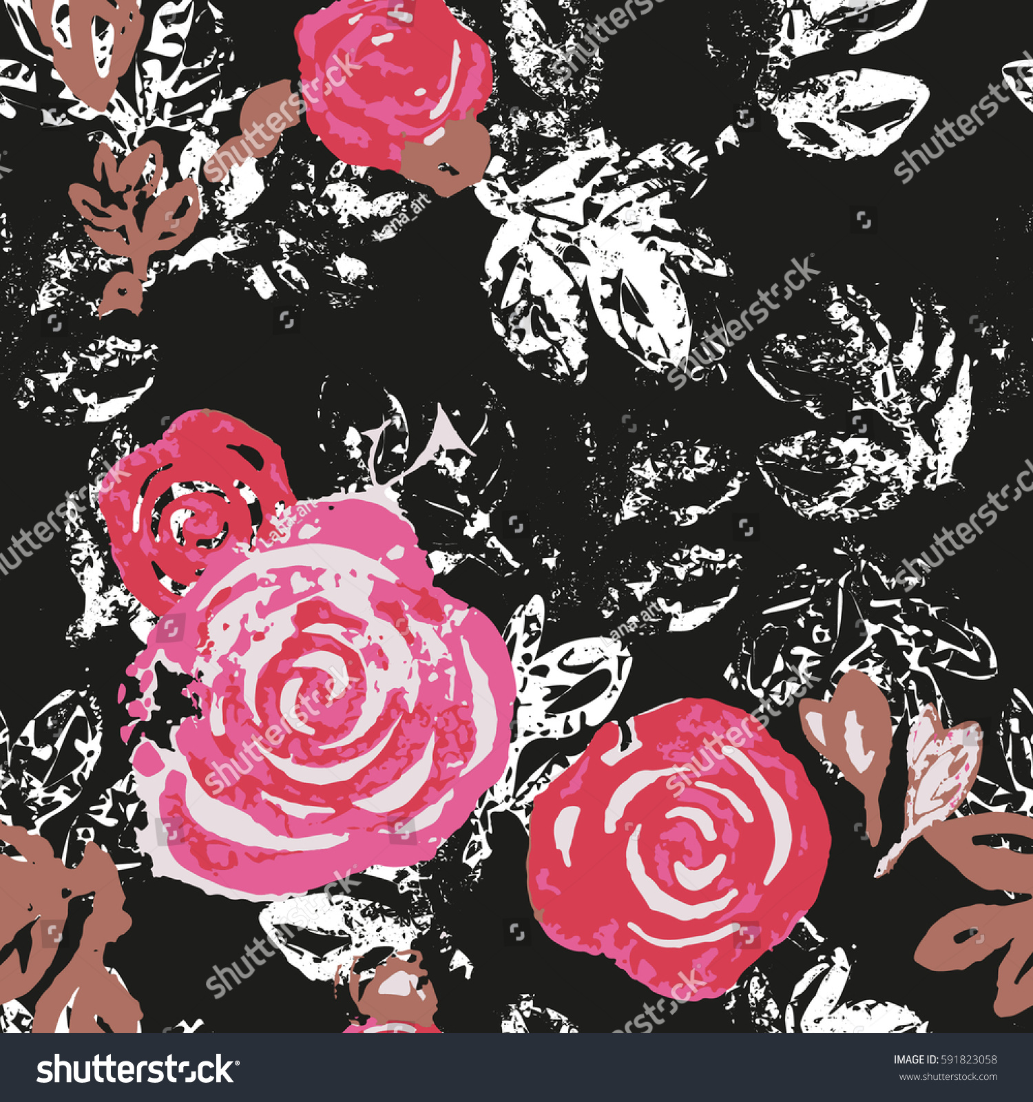 Roses Seamless Floral Pattern Black Background Royalty Free