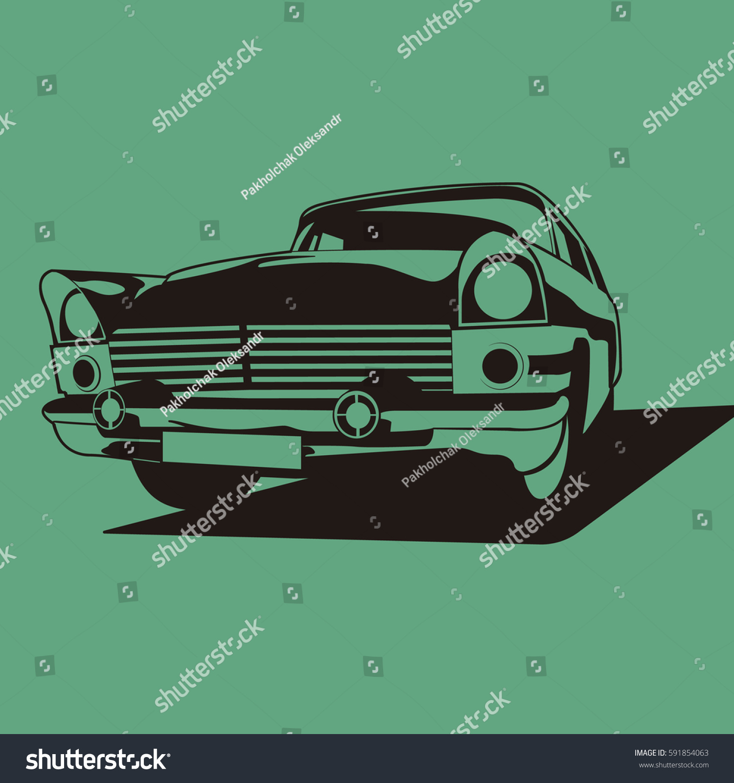 Retro Car Two Colors Black And DARK Turquoise