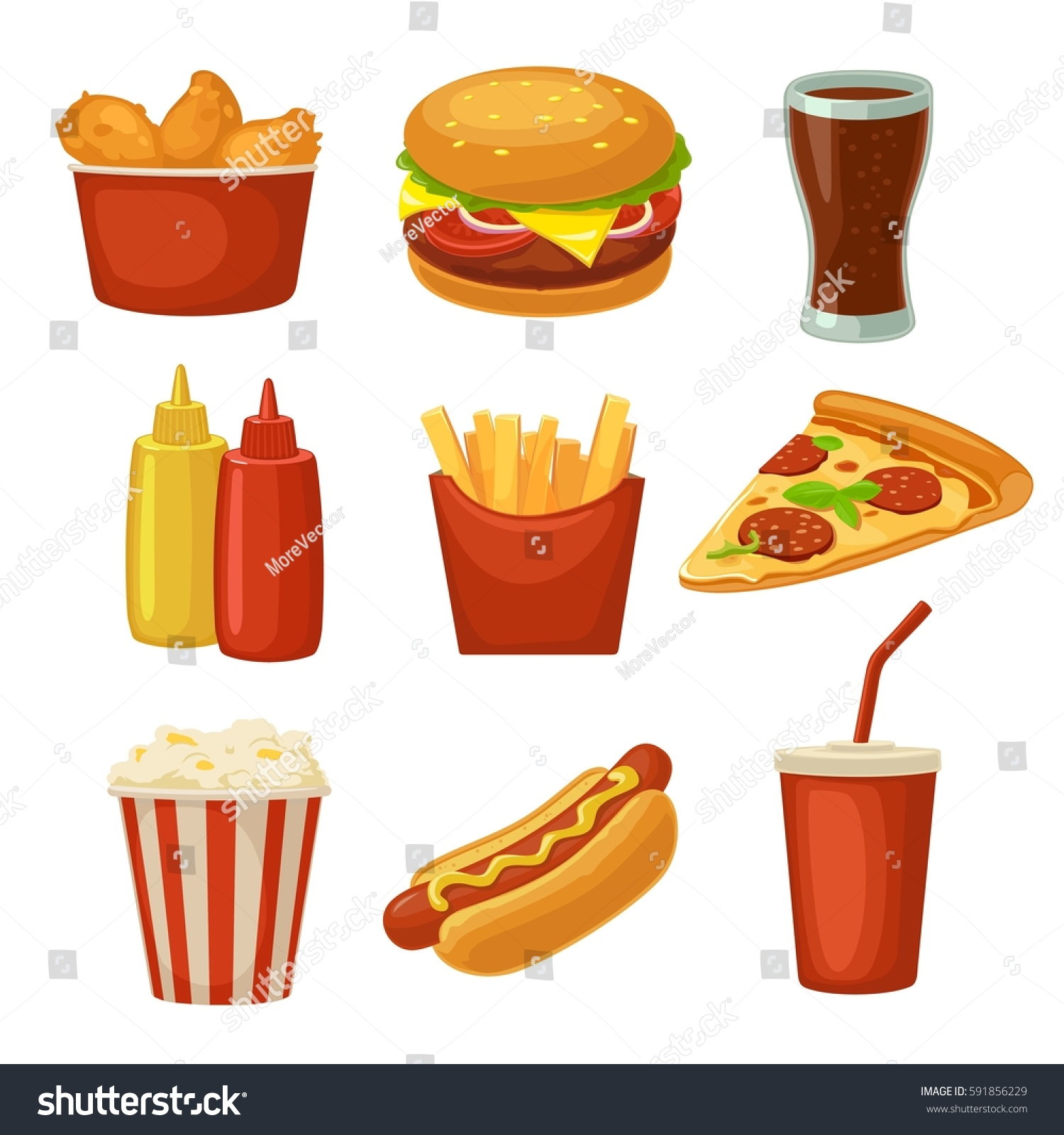 Set Fast Food Icon Cup Cola Stock Vector 591856229 - Shutterstock