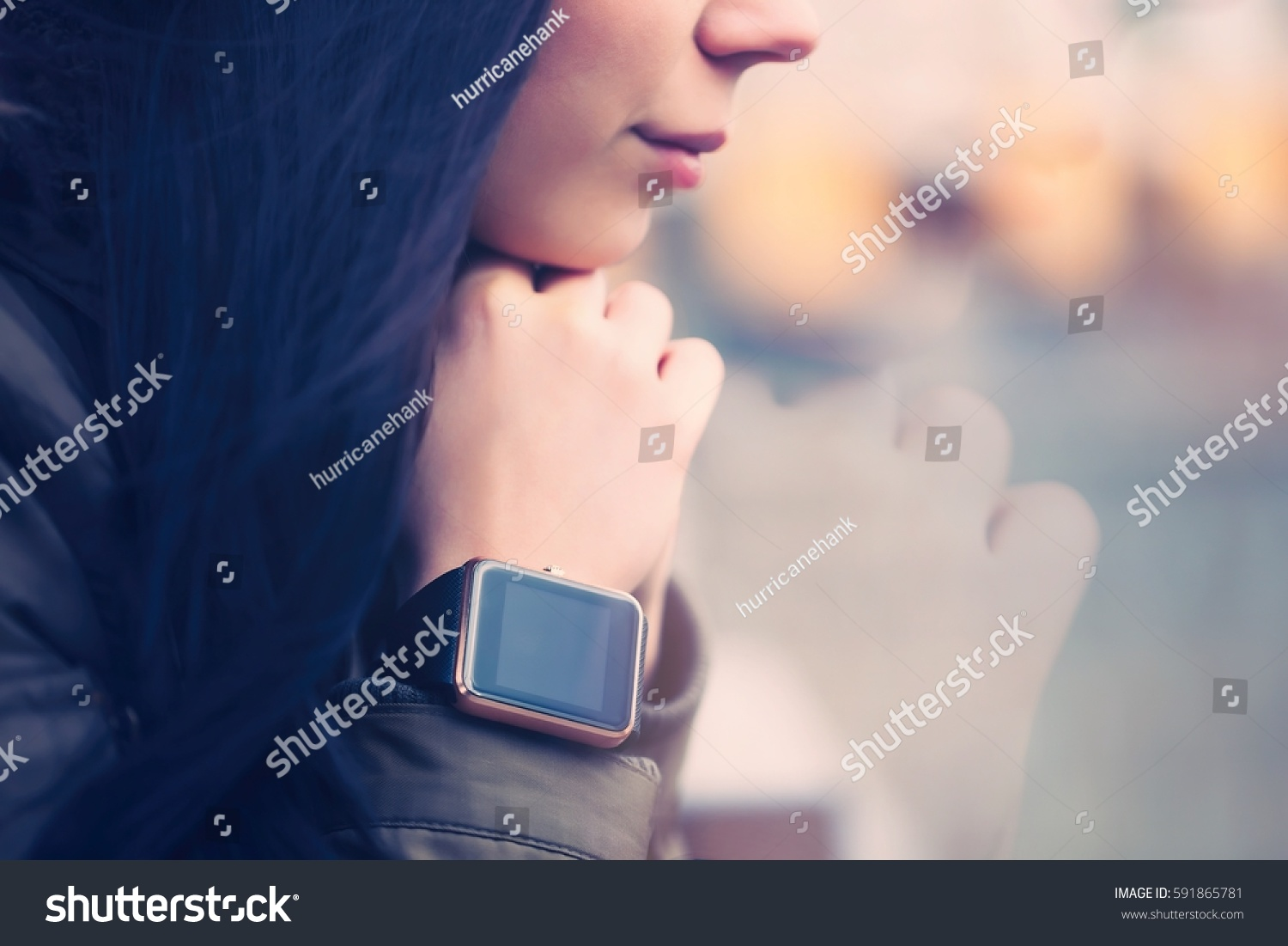 Woman Wearing Modern Smart Watches Touch Stock Photo 591865781 ...