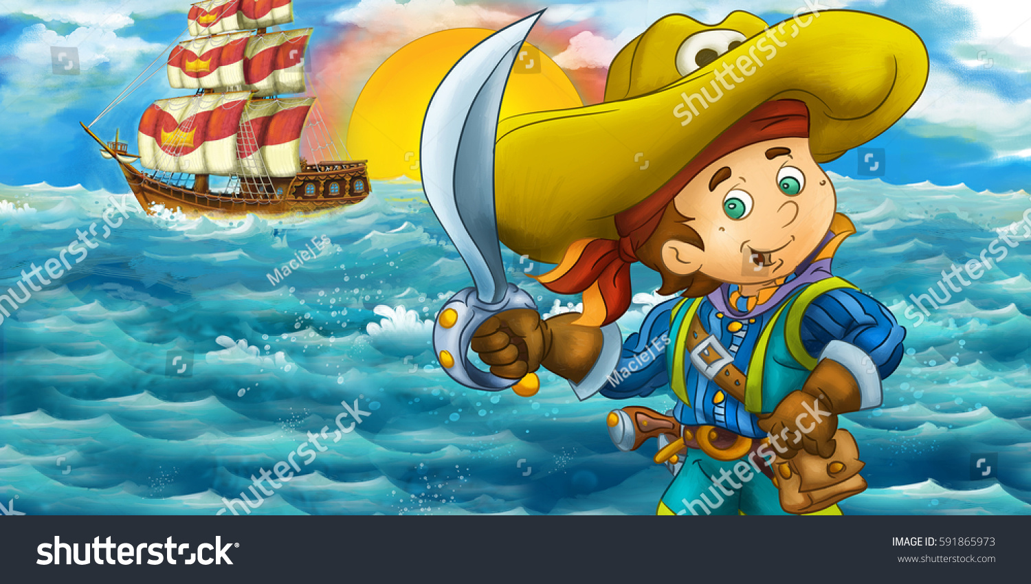 Cartoon Happy Pirate In Front Of A Wooden Ship