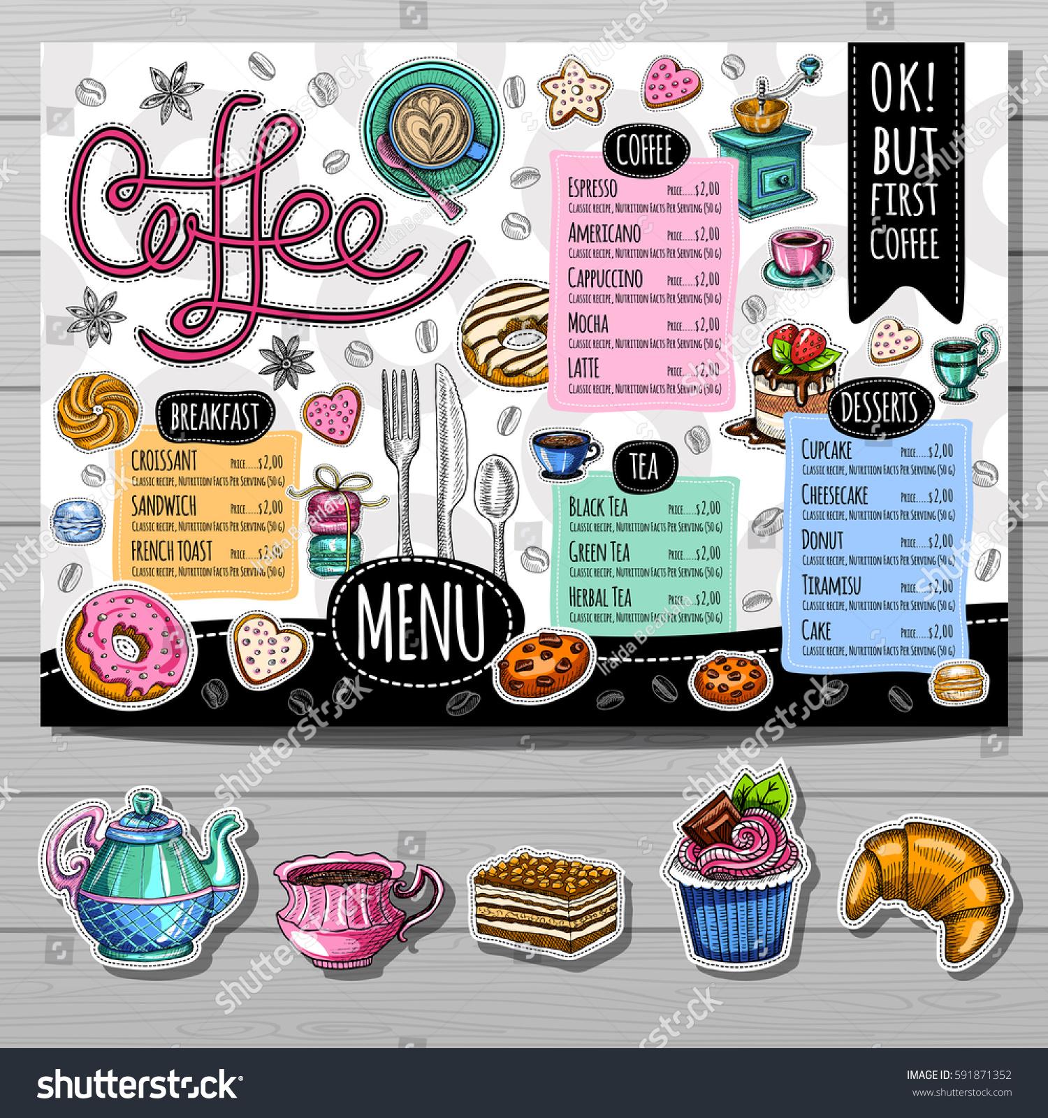 Coffee Shop Menu Template Cafe Menu Stock Vector (Royalty Free ...