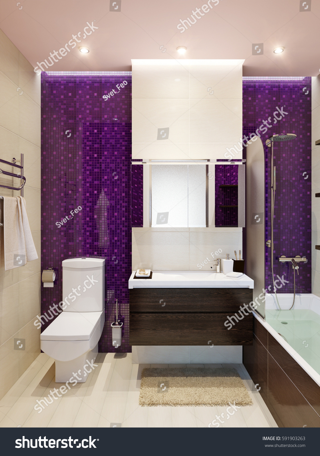 Modern bathroom interior with beige  violet purple and brown colors tiles   3d rendering. Modern Bathroom Interior Beige Violet Purple Stock Illustration