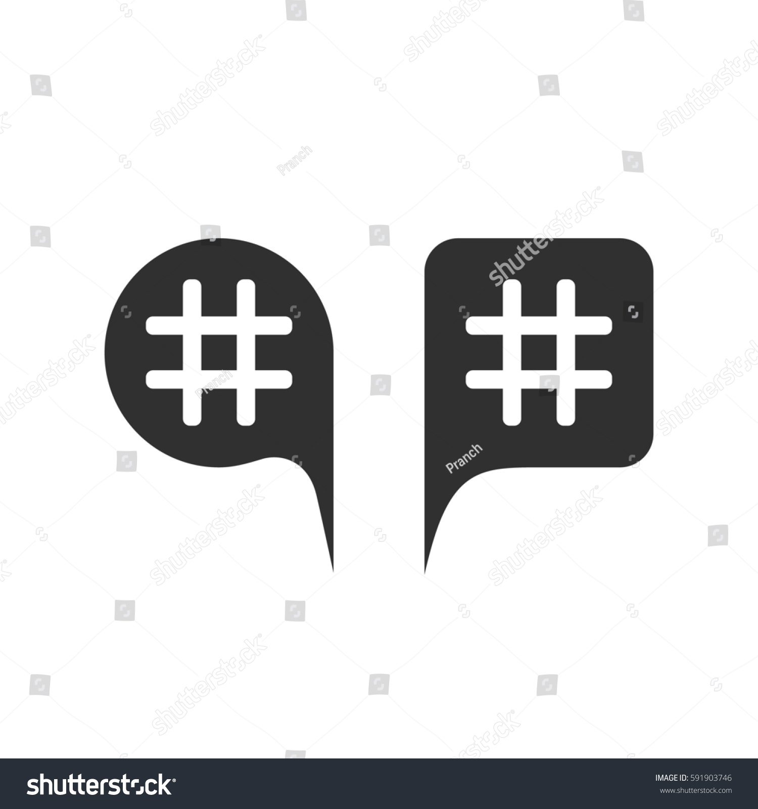 Hashtag Black Speech Bubbles Concept Micro Stock Illustration