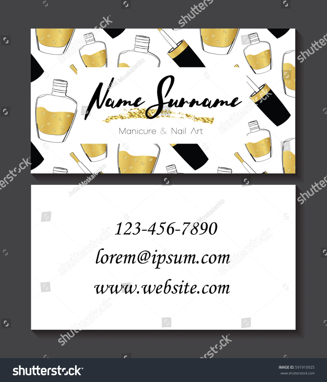 Set Business Cards Manicure Nail Art Stock Vector 591910925 ...